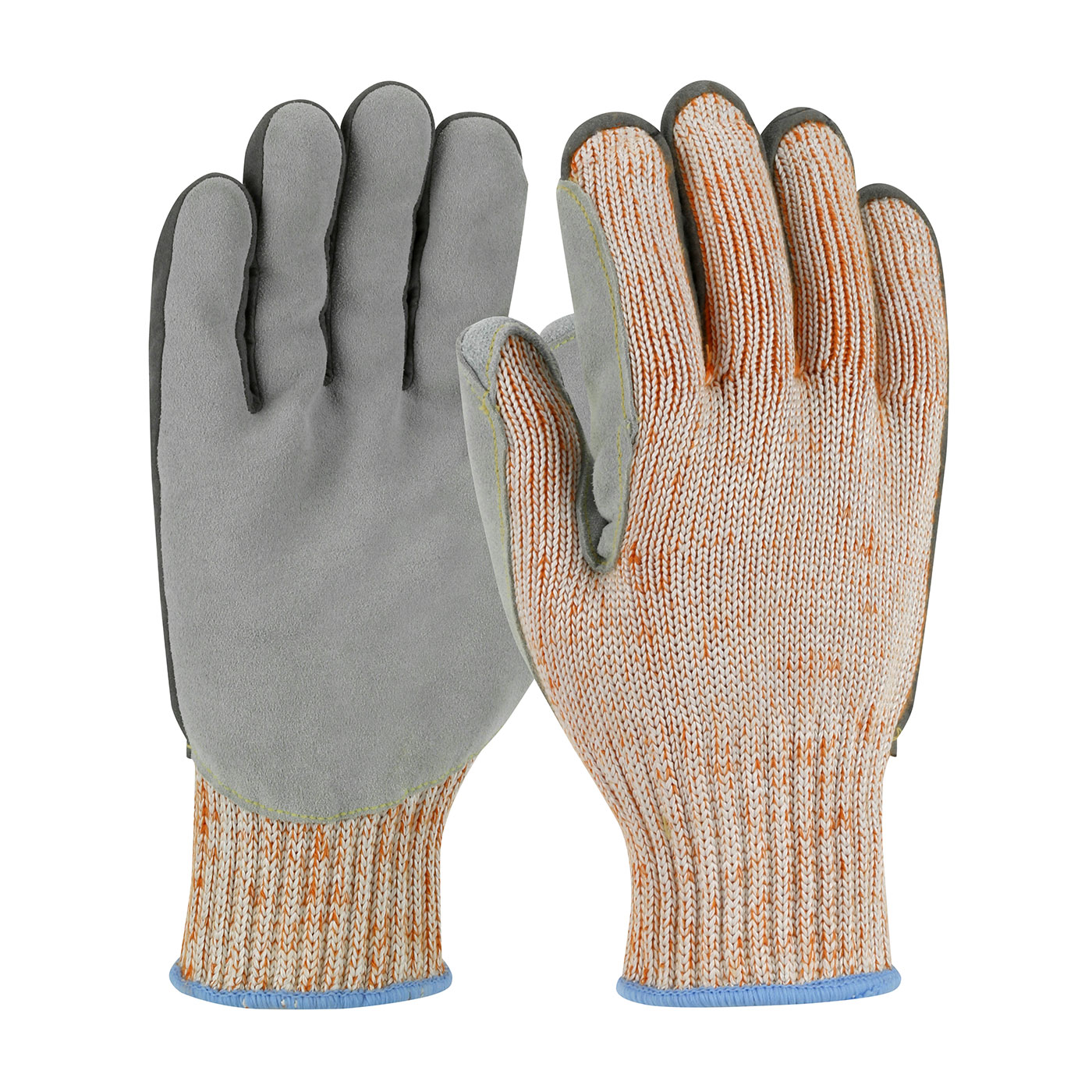 Seamless Knit PolyKor Engineered Yarn Glove with Split Cowhide Leather Palm and Aramid Stitching - Vend-Ready, Orange, L