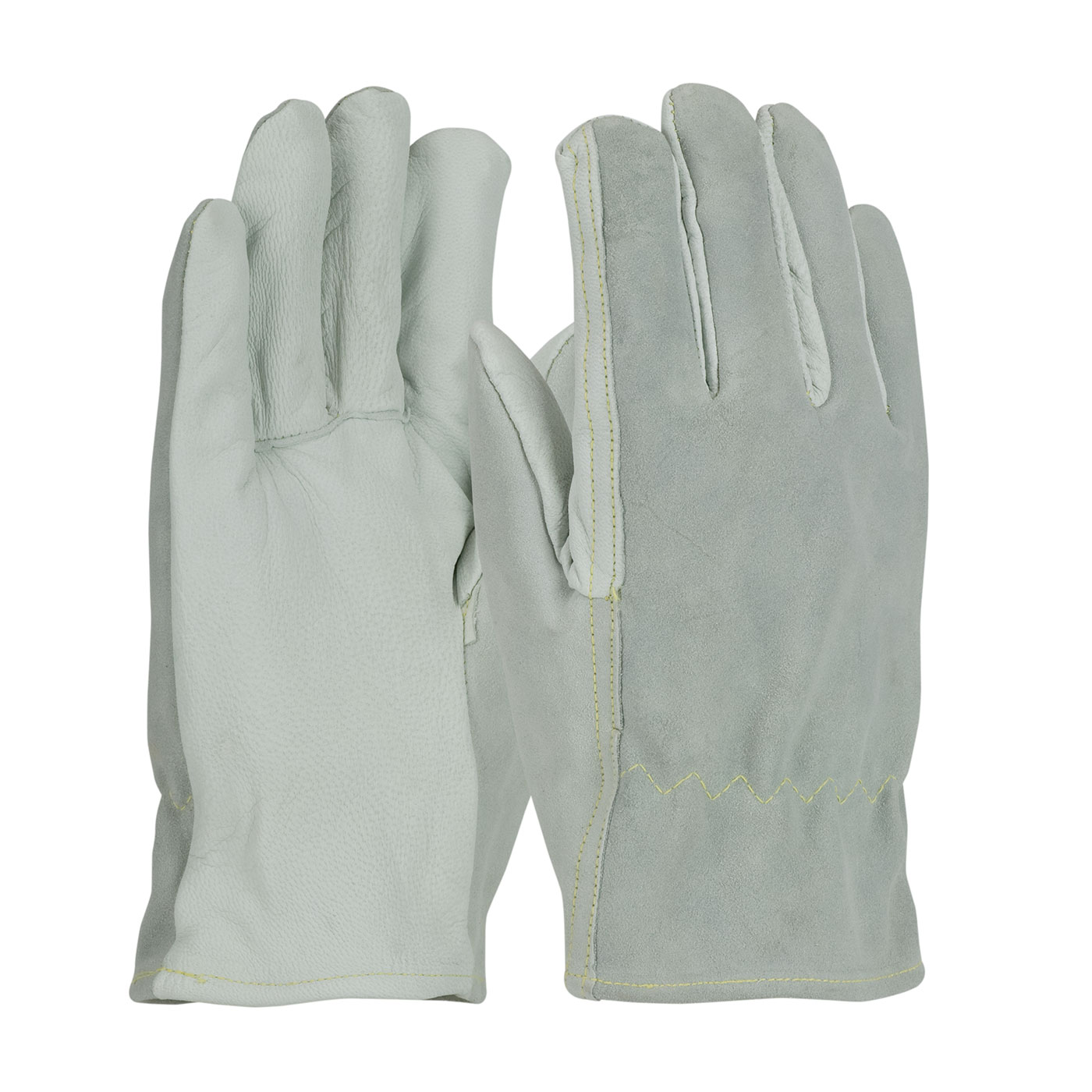 Top Grain Goatskin / Split Cowhide Leather Drivers Glove with Kevlar® Liner - Straight Thumb, Natural, M