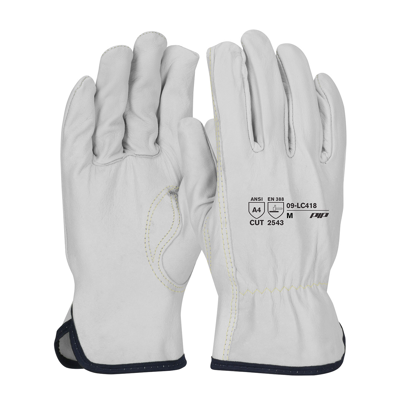 Premium Grade Top Grain Goatskin Leather Drivers Glove with Aramid Blended Lining and Kevlar® Stitching - Keystone Thumb, Natural, L