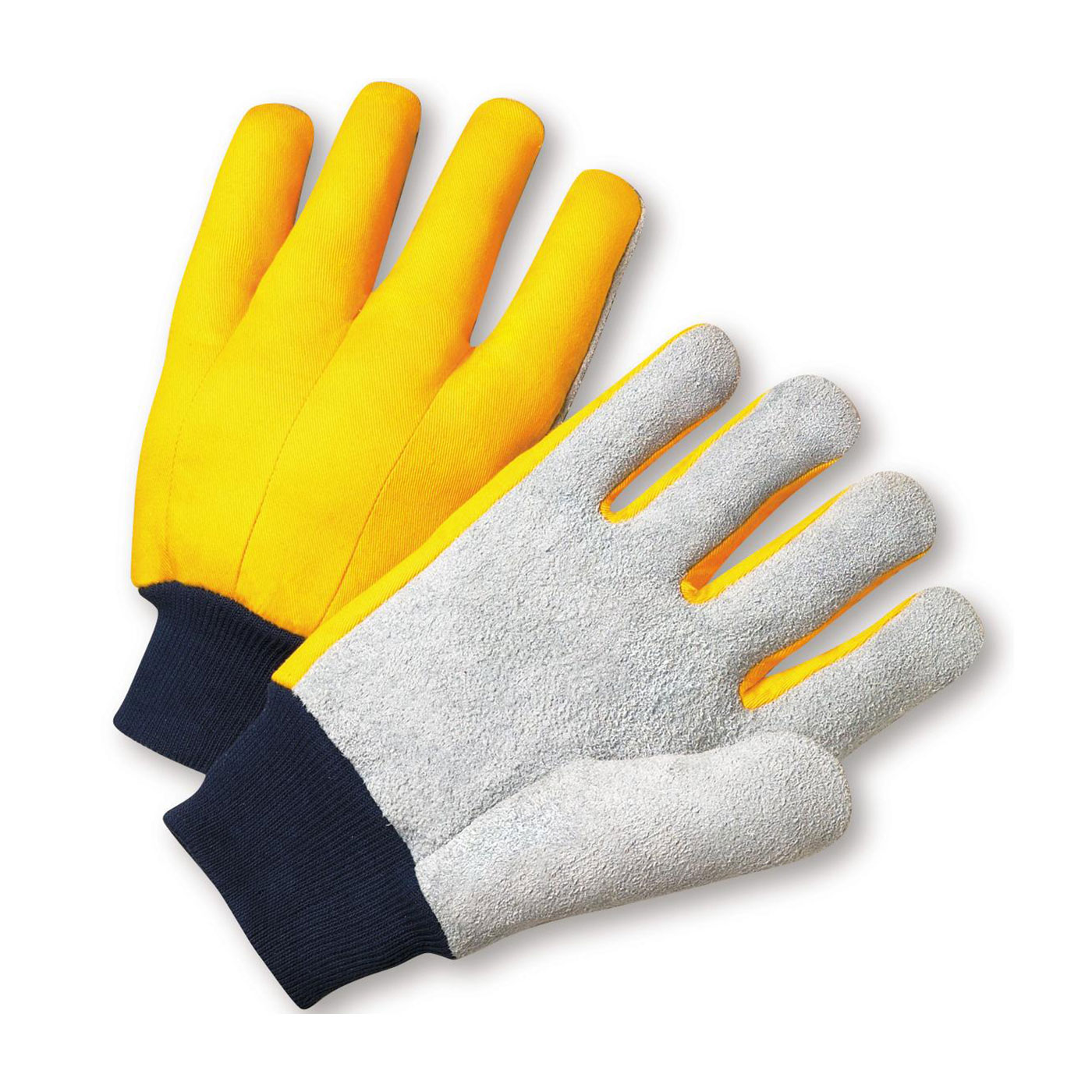 Select Grade Cowhide Leather Palm Glove with Fabric Back, Yellow, MENS