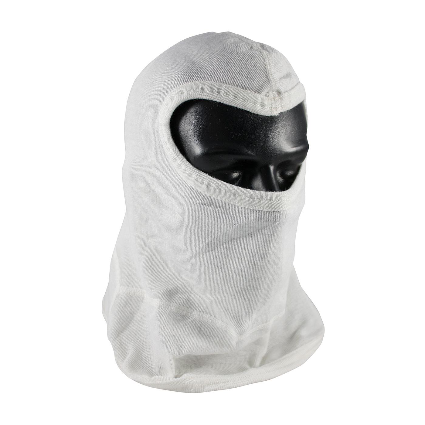 Single-Layer Nomex® Balaclava with Bib - Slit Eye, White, OS