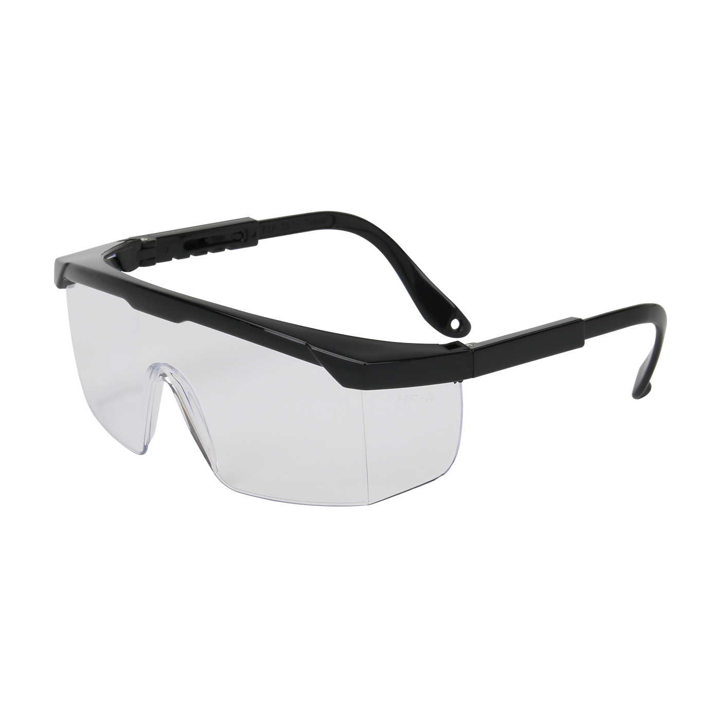Semi-Rimless Safety Glasses with Black Frame and Clear Lens, Black, OS