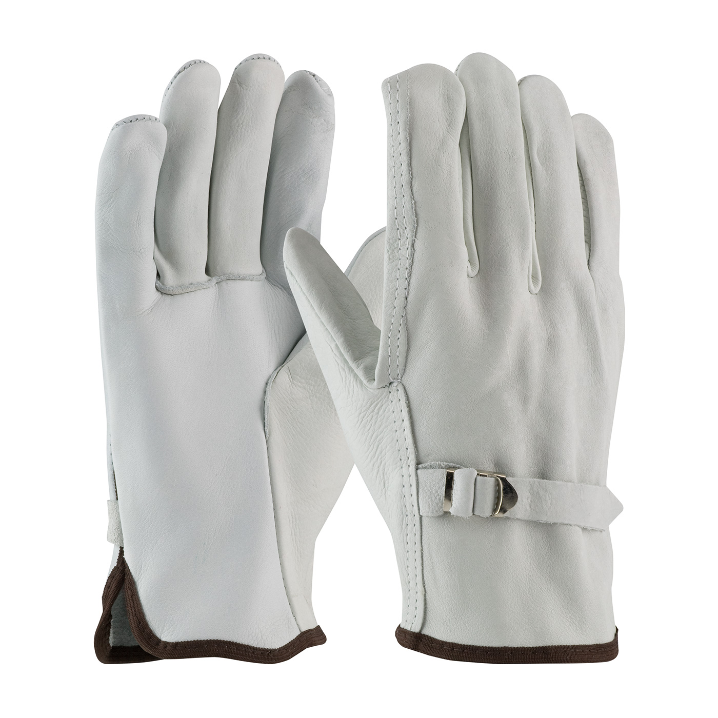 Superior Grade Top Grain Cowhide Leather Drivers Glove with Pull Strap Closure - Straight Thumb, Natural, L