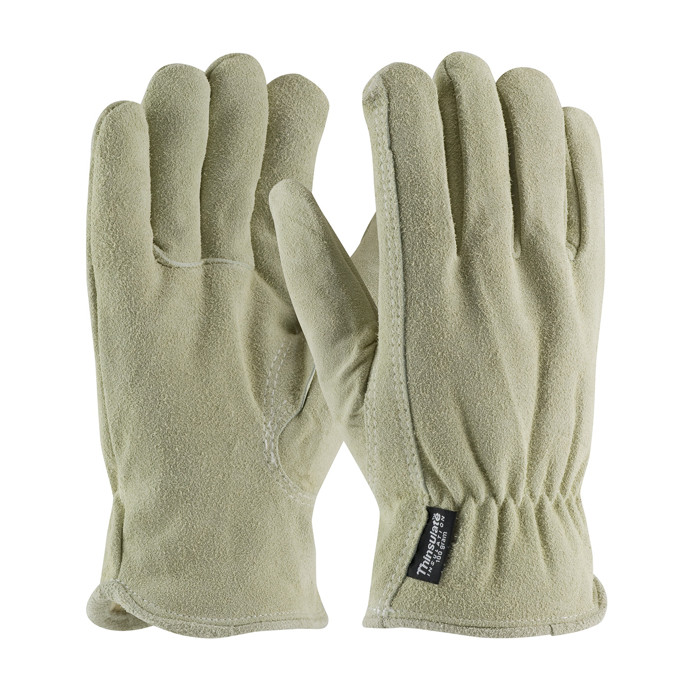 Split Cowhide Leather Drivers Glove with 3M™ Thinsulate™ Lining - Keystone Thumb, Natural, S