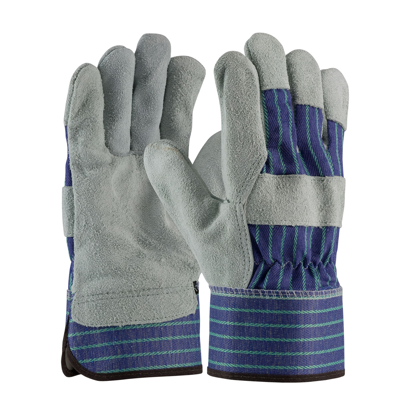 """""""A/B"""" Grade Shoulder Split Cowhide Leather Palm Glove with Fabric Back - Rubberized Safety Cuff, Blue, M"""