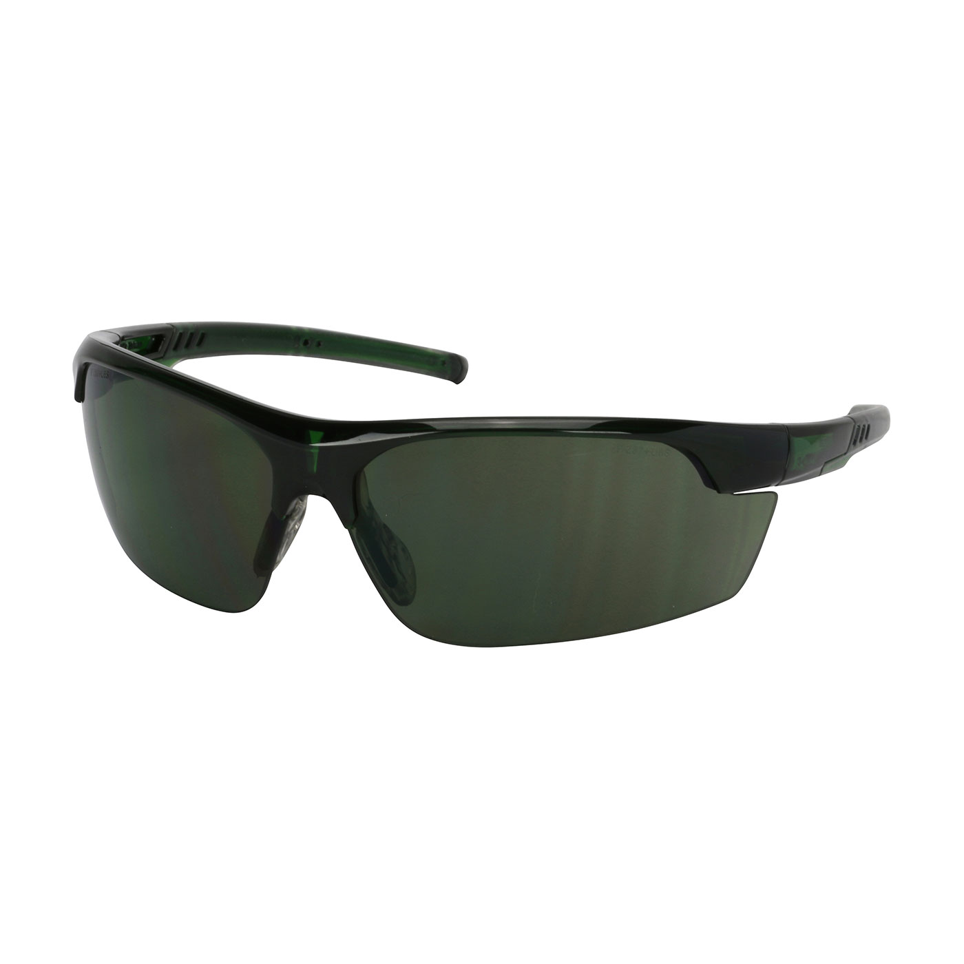 Semi-Rimless Safety Glasses with Green Frame, Green Lens and FogLess® 3Sixty™ Coating, Green, OS