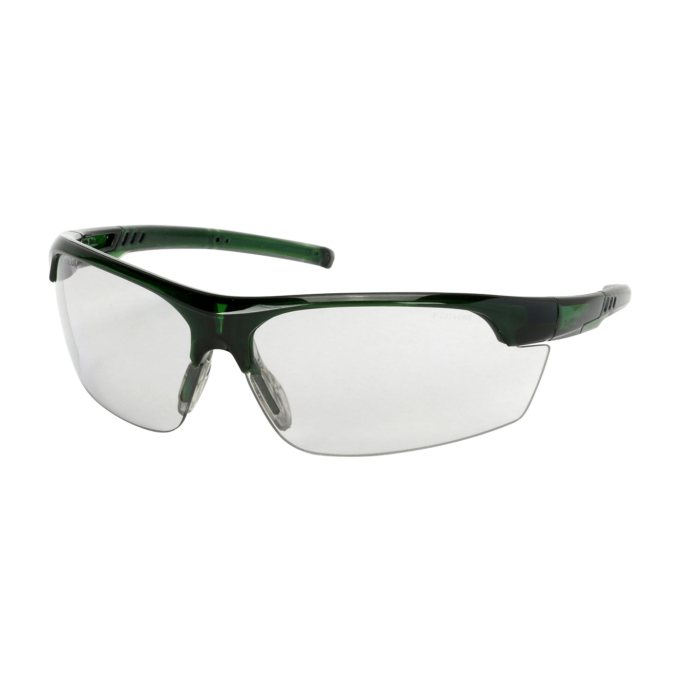 Semi-Rimless Safety Glasses with Green Frame, Light Gray Lens and FogLess® 3Sixty™ Coating, Green, OS