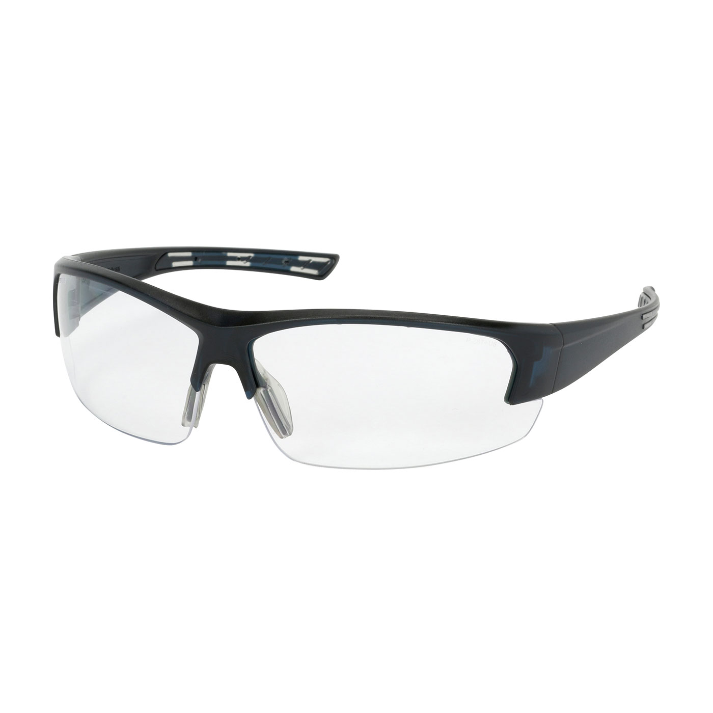 Semi-Rimless Safety Glasses with Dark Blue Frame, Clear Lens and FogLess® 3Sixty™ Coating, Dark Blue, OS