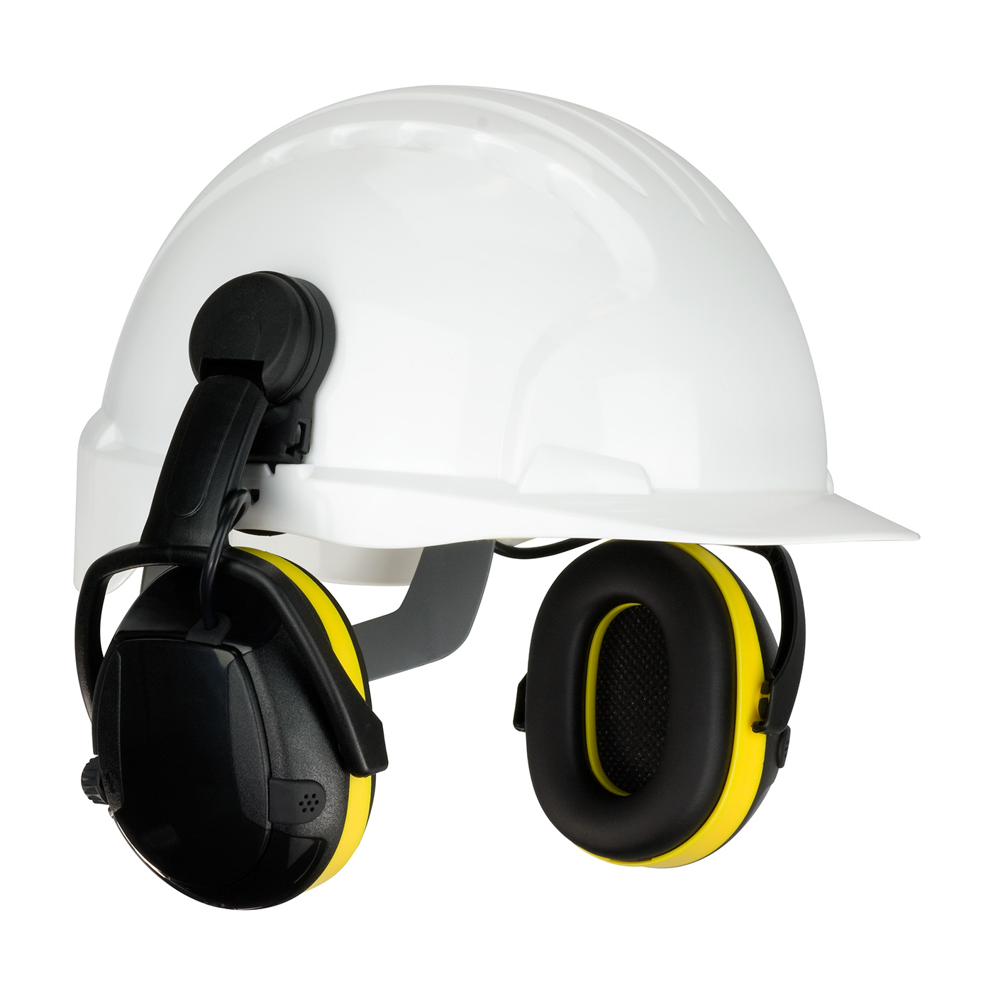 Cap Mounted Electronic Ear Muff with Active Listening - NRR 23, Yellow, OS