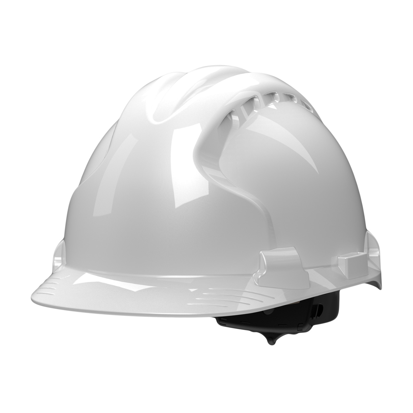 Type II Hard Hat with HDPE Shell, EPS Impact Liner, Polyester Suspension and Wheel Ratchet Adjustment, White, OS