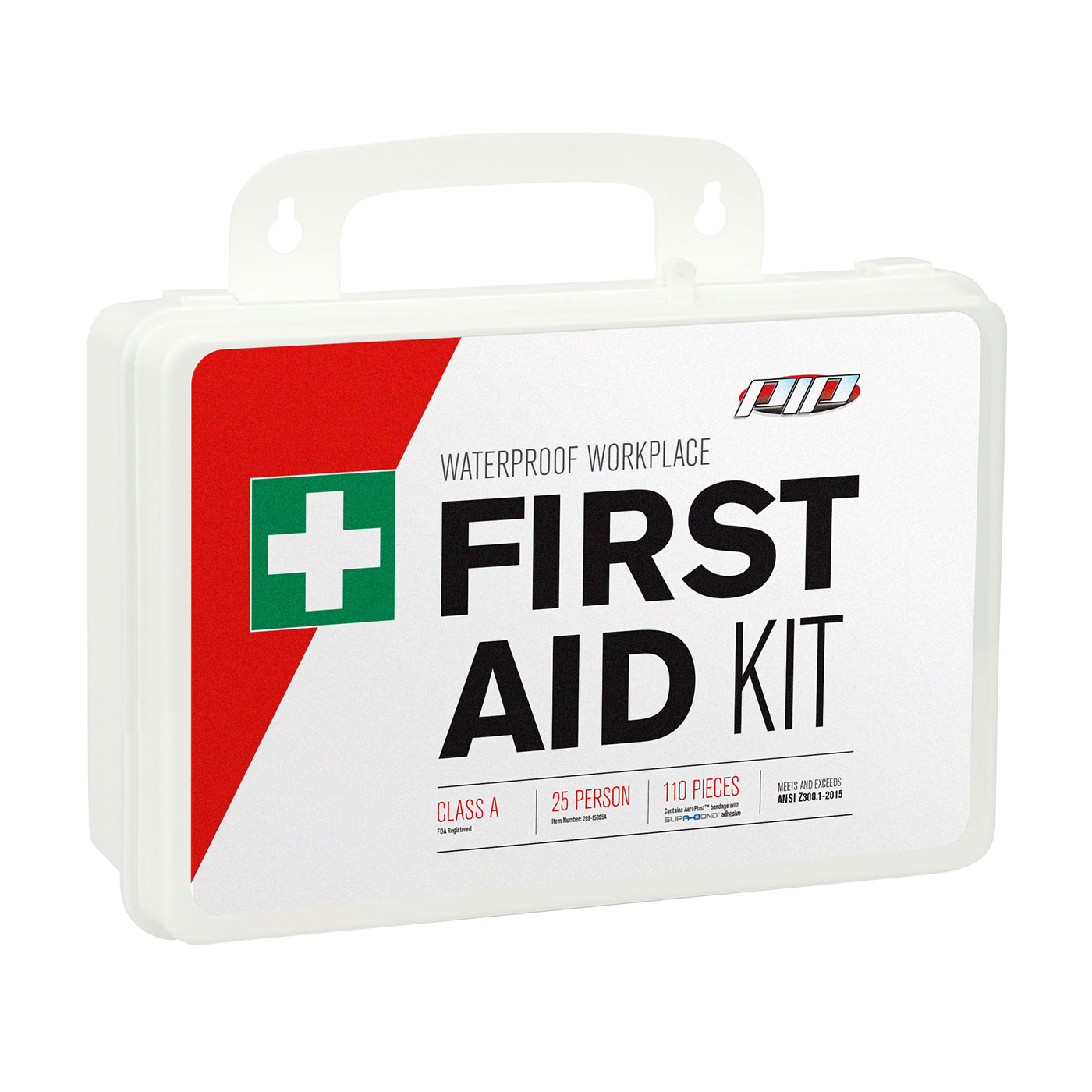 ANSI Class A Waterproof First Aid Kit - 25 Person, White, KIT
