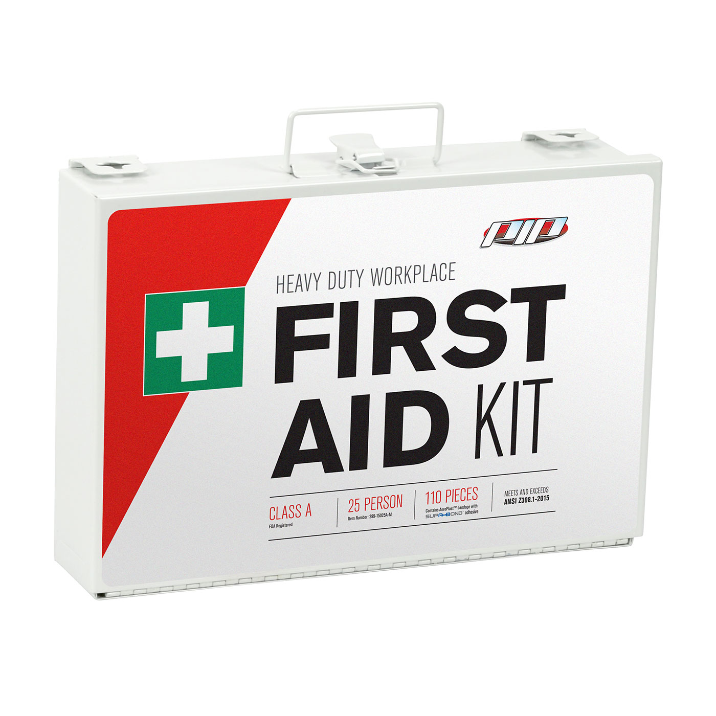 ANSI Class A Metal First Aid Kit - 25 Person, White, KIT