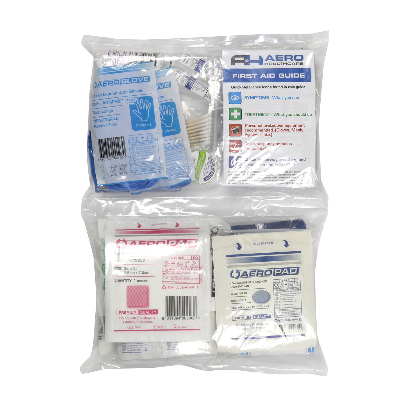 ANSI Class A First Aid Refill Pouches - 25 Person, Clear, KIT