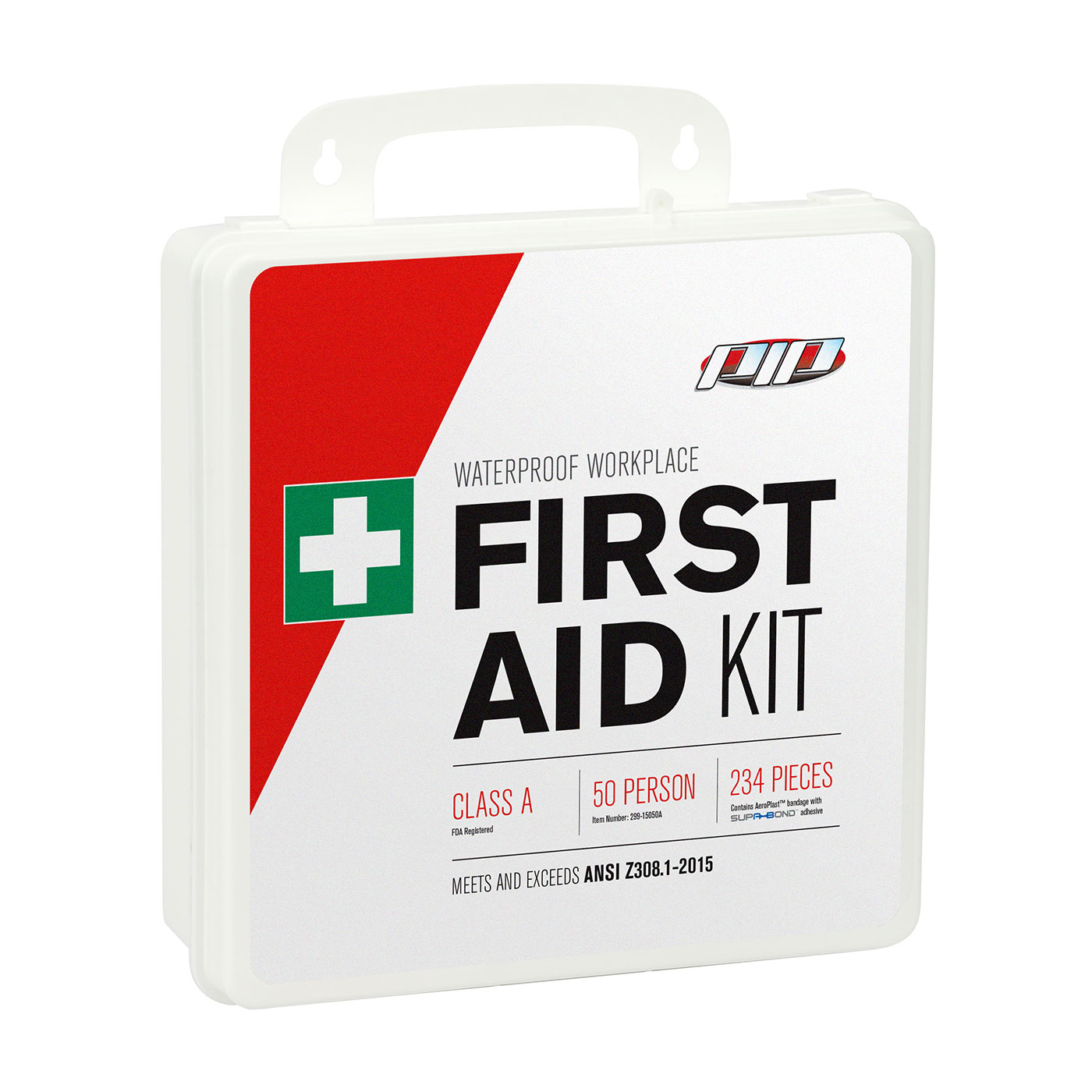 ANSI Class A Waterproof First Aid Kit - 50 Person, White, KIT