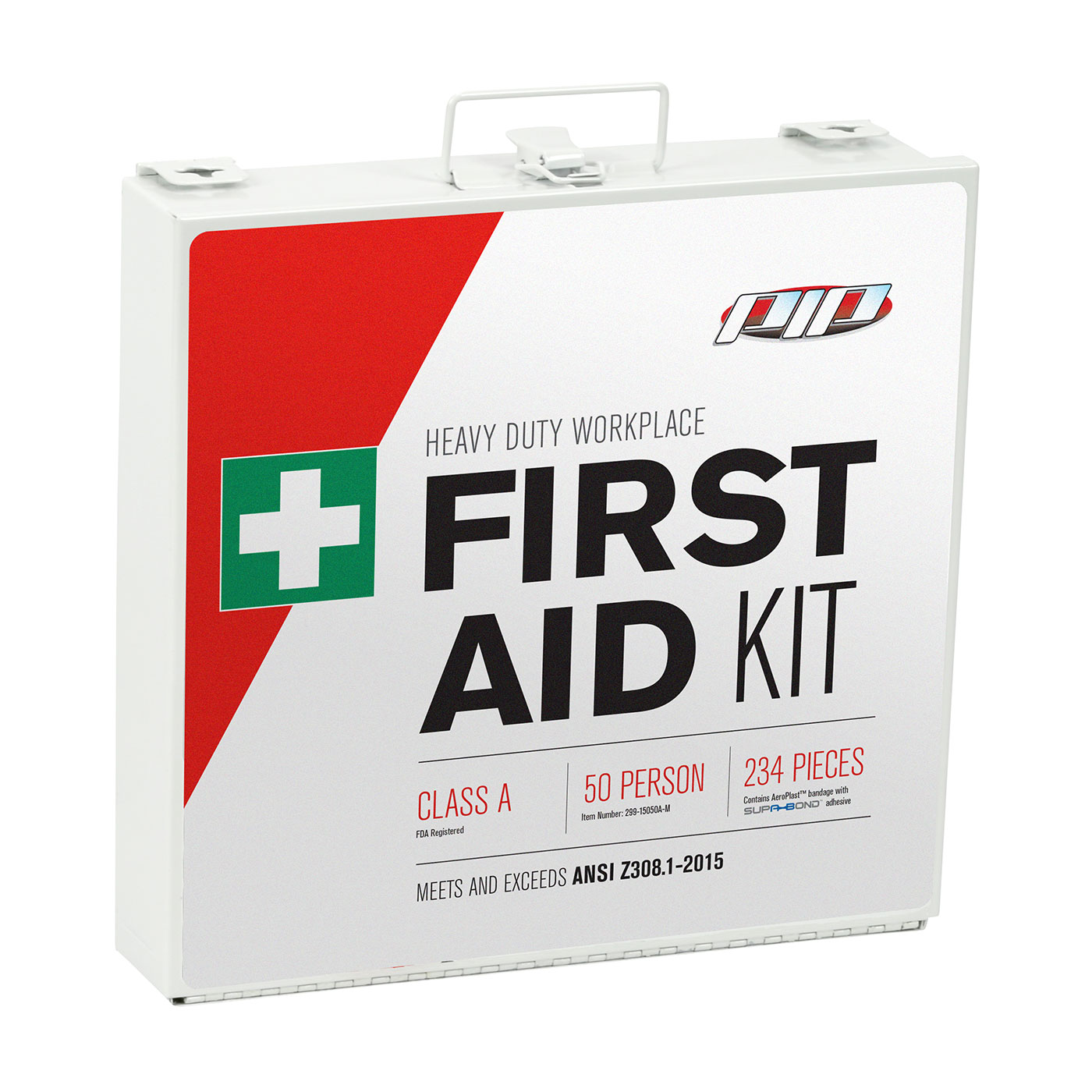 ANSI Class A Metal First Aid Kit - 50 Person, White, KIT