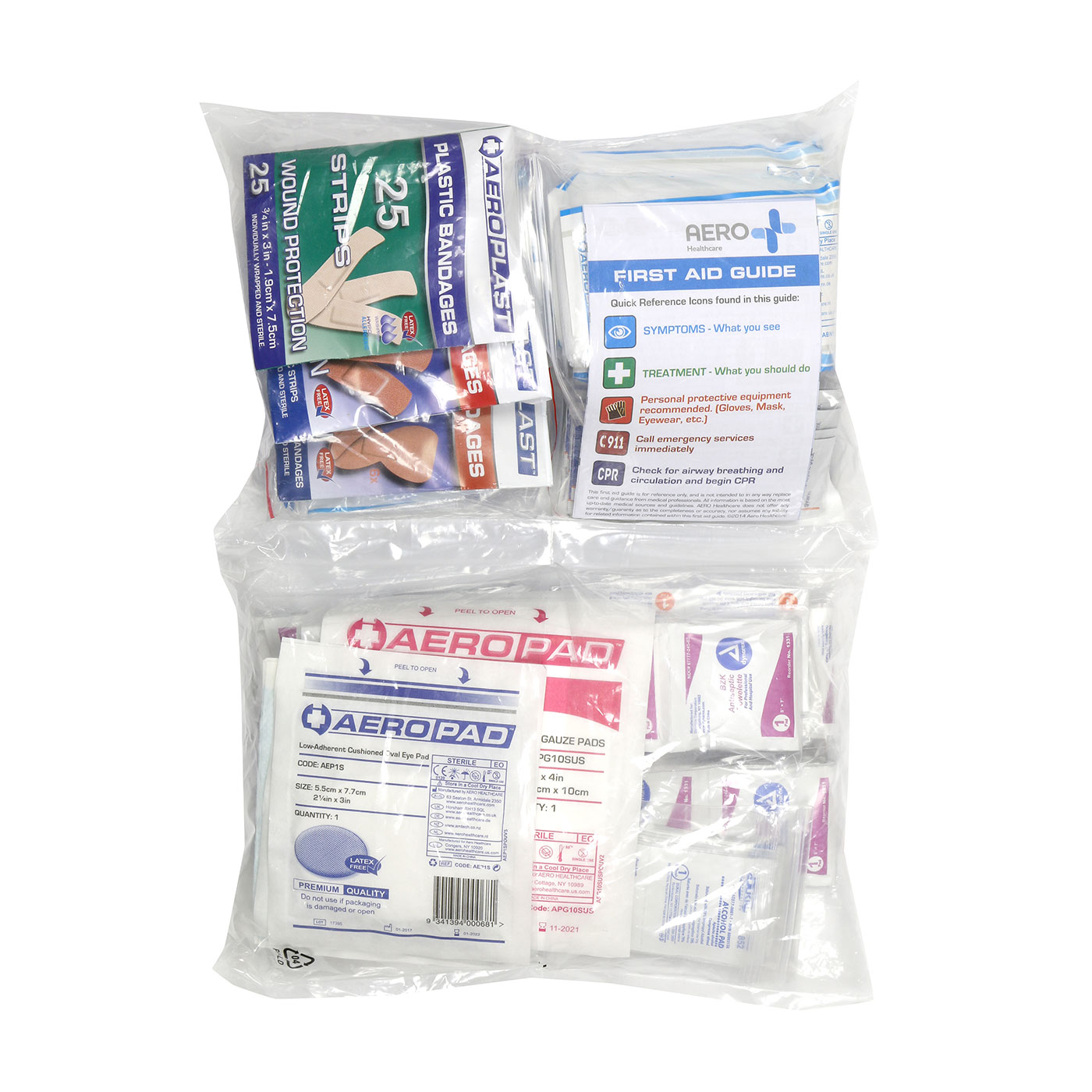 ANSI Class A First Aid Refill Pouches - 50 Person, Clear, KIT