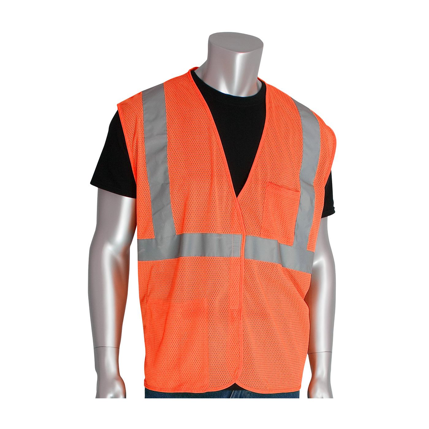 ANSI Type R Class 2 Two Pocket Value Mesh Vest, Hi-Vis Orange, M