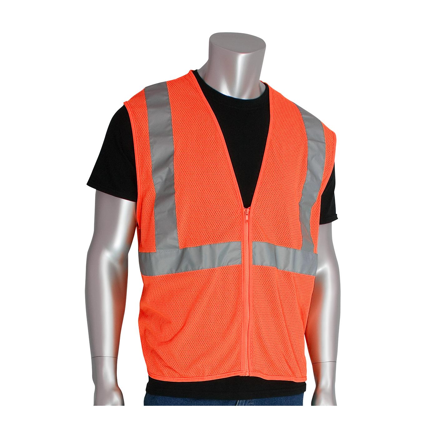 ANSI Type R Class 2 Value Zipper Mesh Vest, Hi-Vis Orange, M