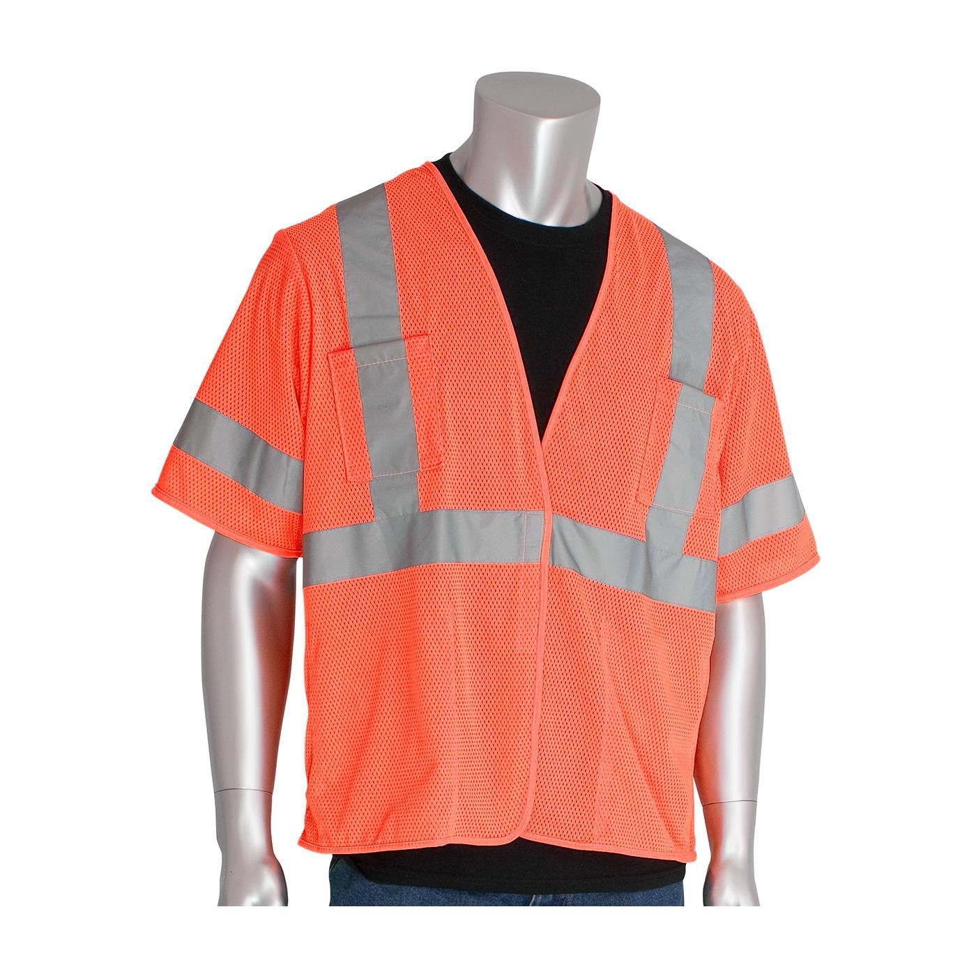 ANSI Type R Class 3 Value Four Pocket Mesh Vest, Hi-Vis Orange, 4XL