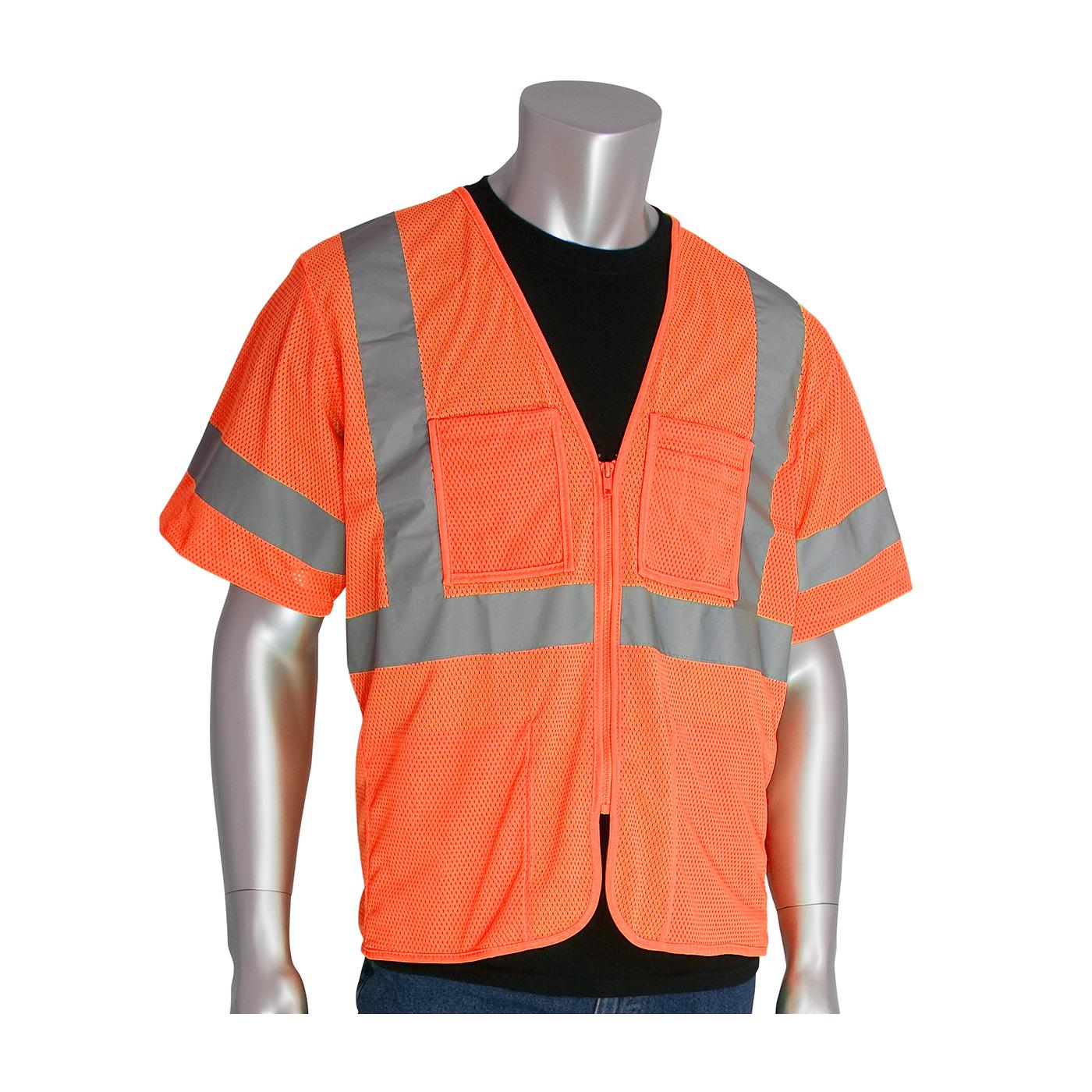 ANSI Type R Class 3 Value Four Pocket Zipper Mesh Vest, Hi-Vis Orange, 3XL