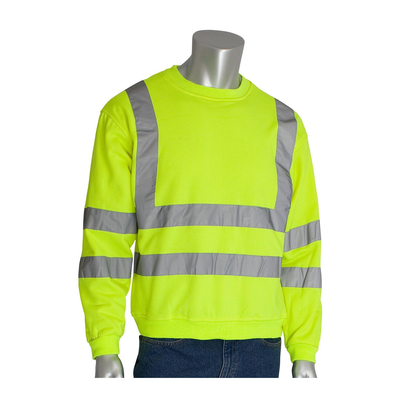 ANSI Type R Class 3 Crew Neck Sweatshirt, Hi-Vis Yellow, XL