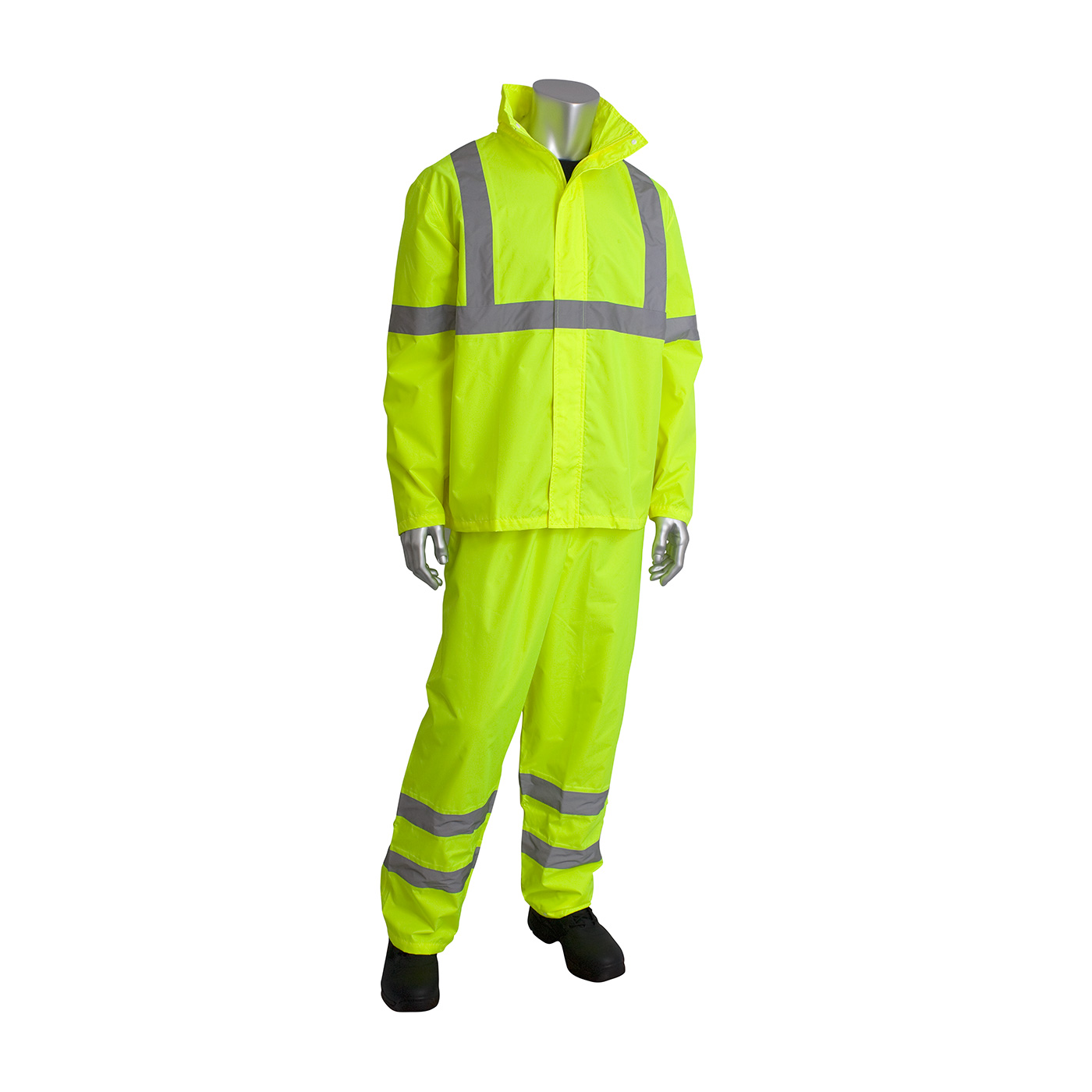 ANSI Type R Class 3 Two-Piece Value Rainsuit Set, Hi-Vis Yellow, L-XL