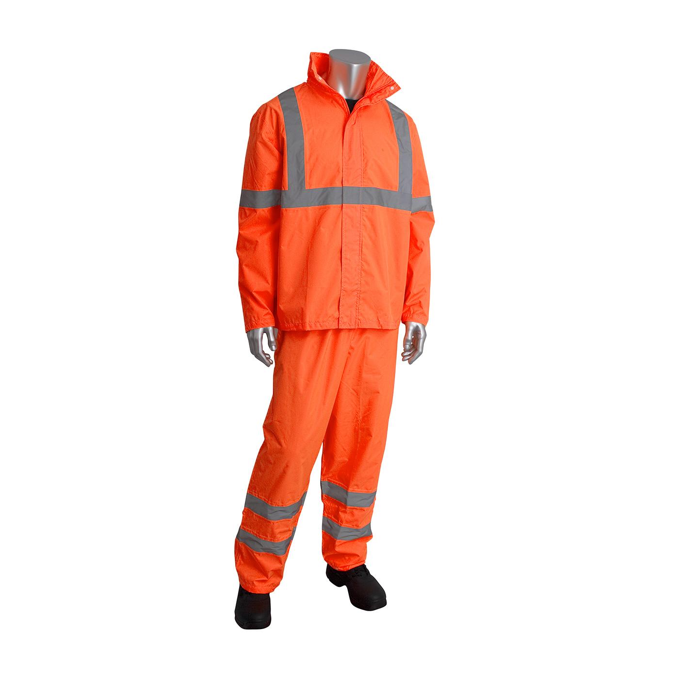 ANSI Type R Class 3 Two-Piece Value Rainsuit Set, Hi-Vis Orange, S-M