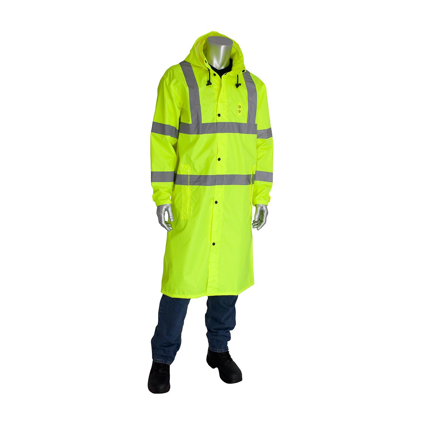 "ANSI Type R Class 3 Value All Purpose 48"" Raincoat, Hi-Vis Yellow, L"