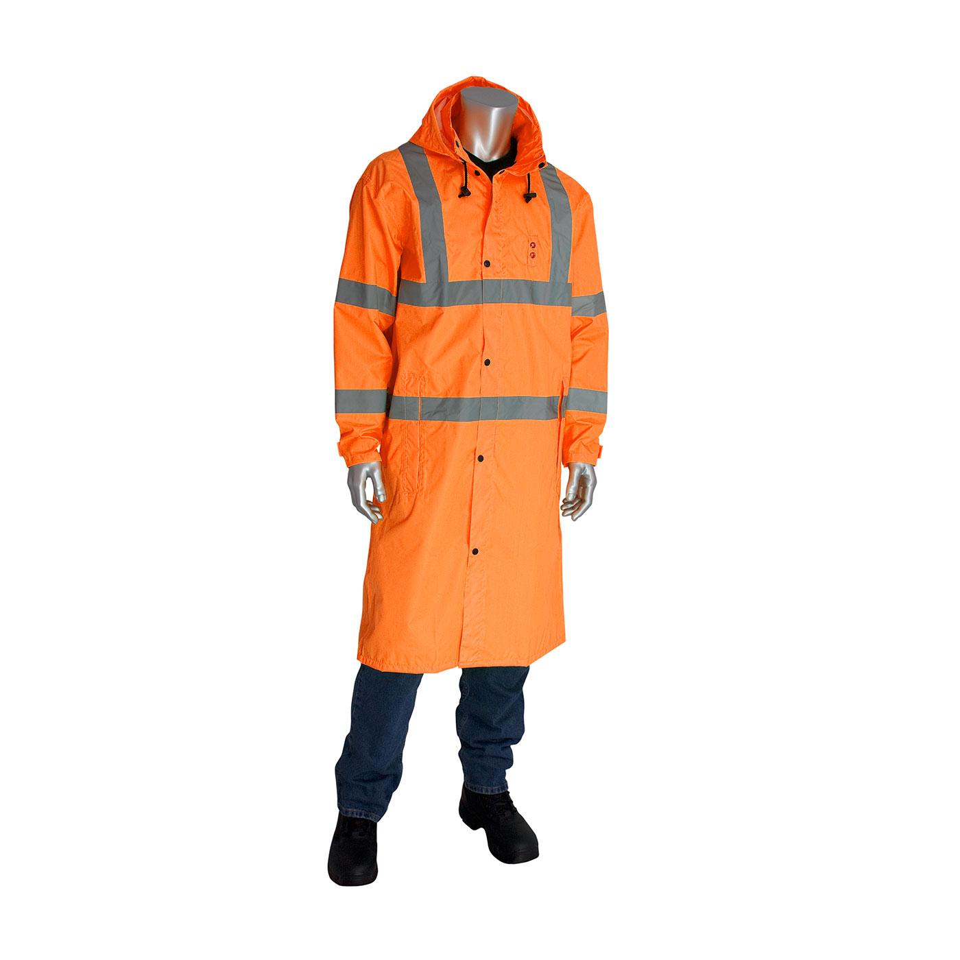 """ANSI Type R Class 3 Value All Purpose 48"""" Raincoat, Hi-Vis Orange, S"""