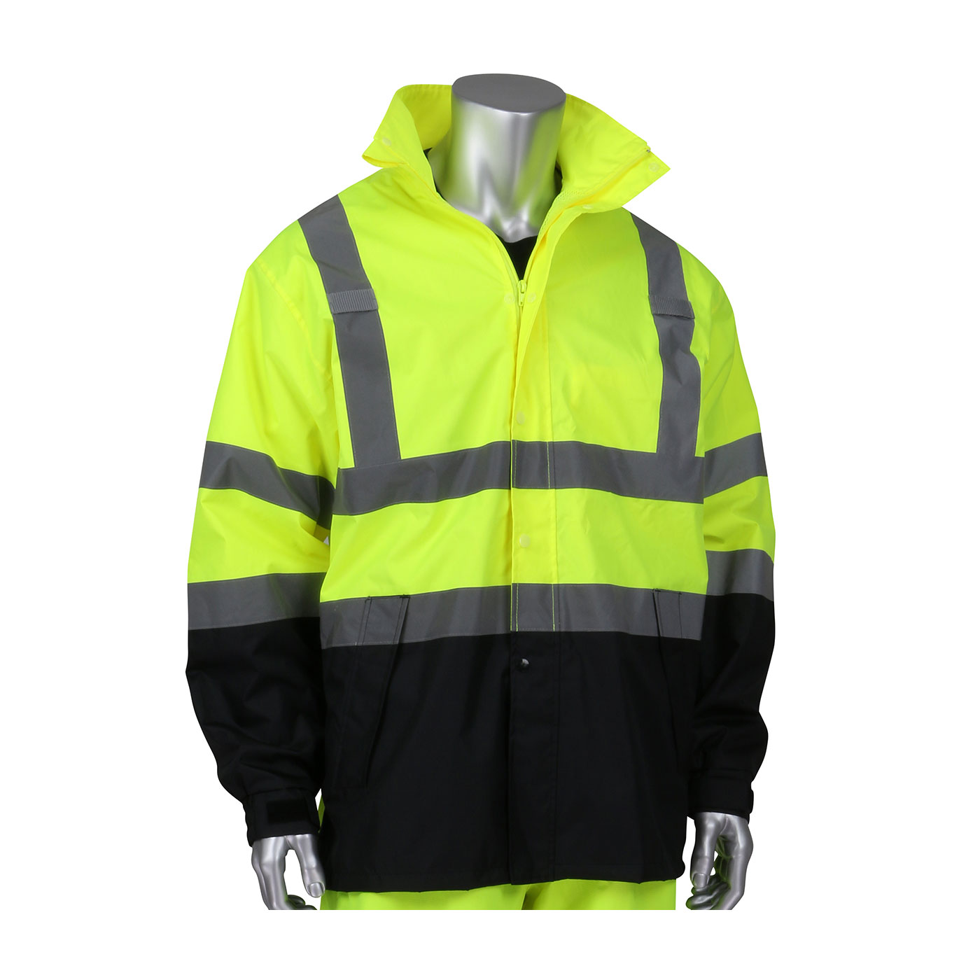 ANSI Type R Class 3 Value All Purpose Waterproof Jacket with Black Bottom, Hi-Vis Yellow, L-XL