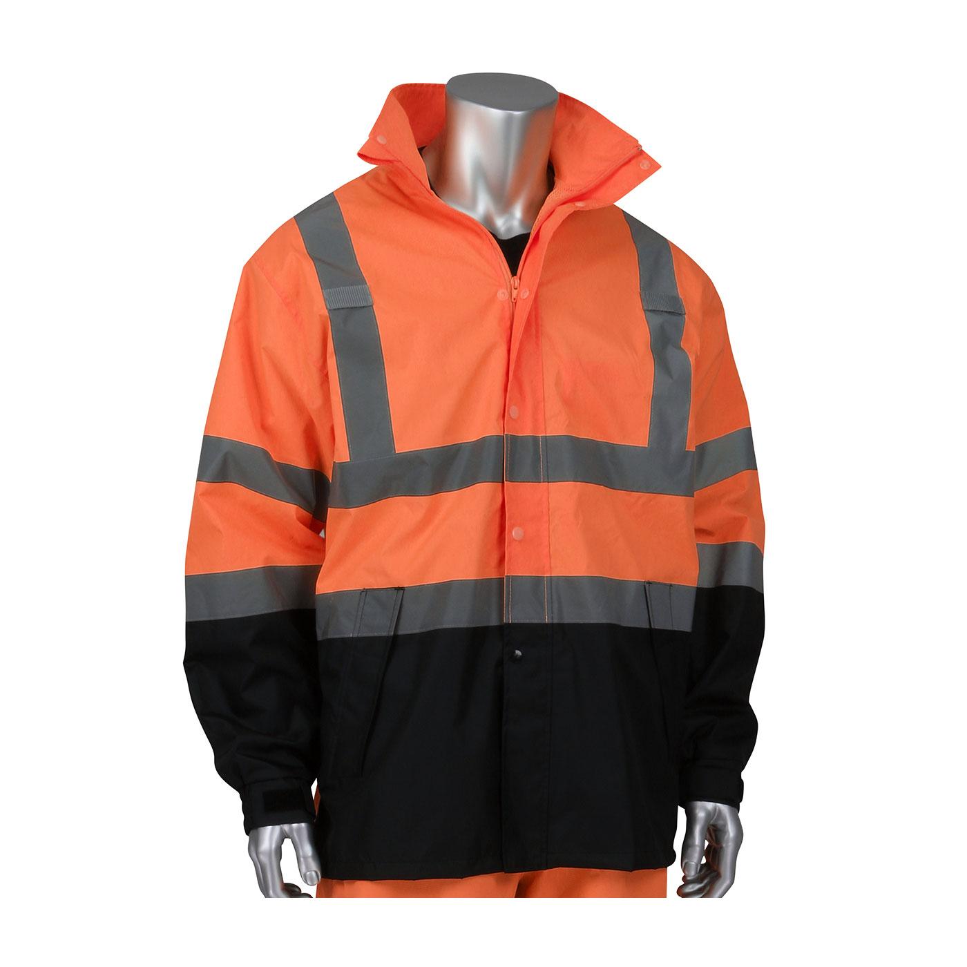 ANSI Type R Class 3 Value All Purpose Waterproof Jacket with Black Bottom, Hi-Vis Orange, L-XL