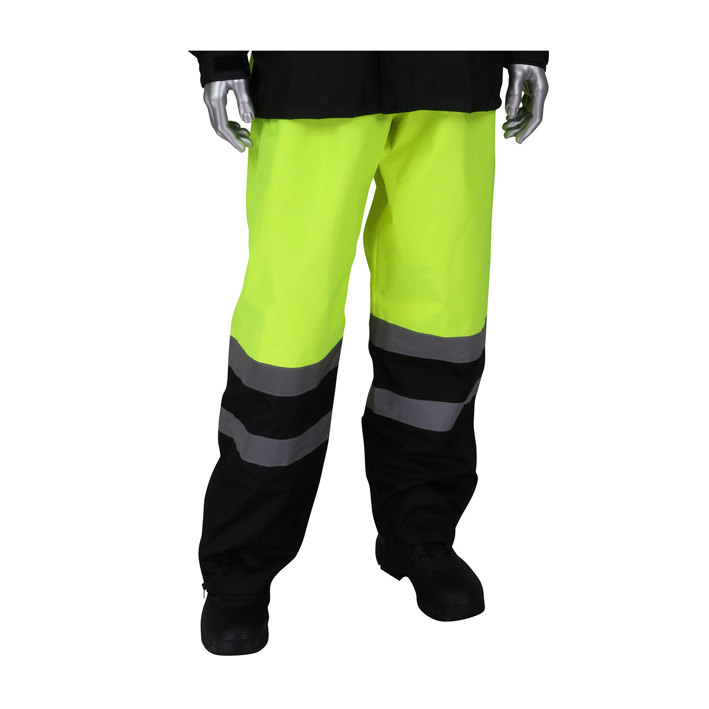 ANSI Class E Value All Purpose Waterproof Pants with Black Bottoms, Hi-Vis Yellow, L-XL