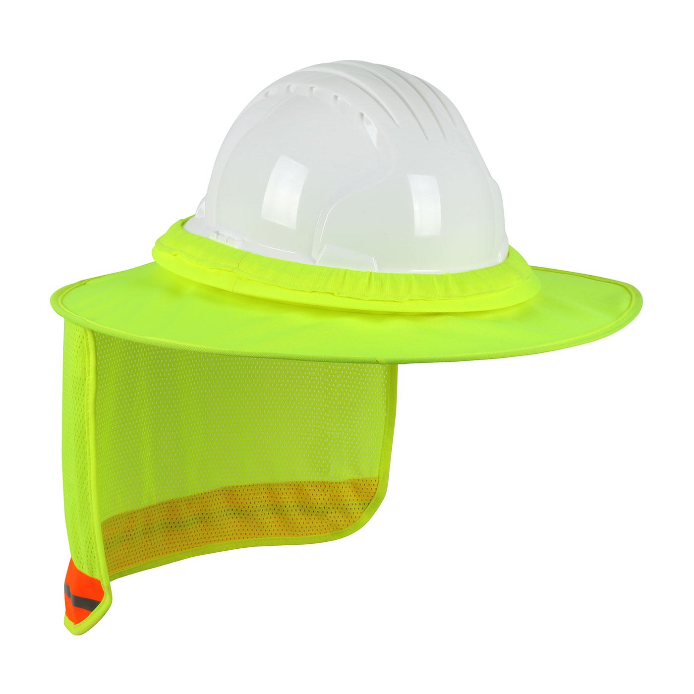 Hi-Vis Full Brim Hard Hat Visor with Neck Shade, Hi-Vis Yellow, OS