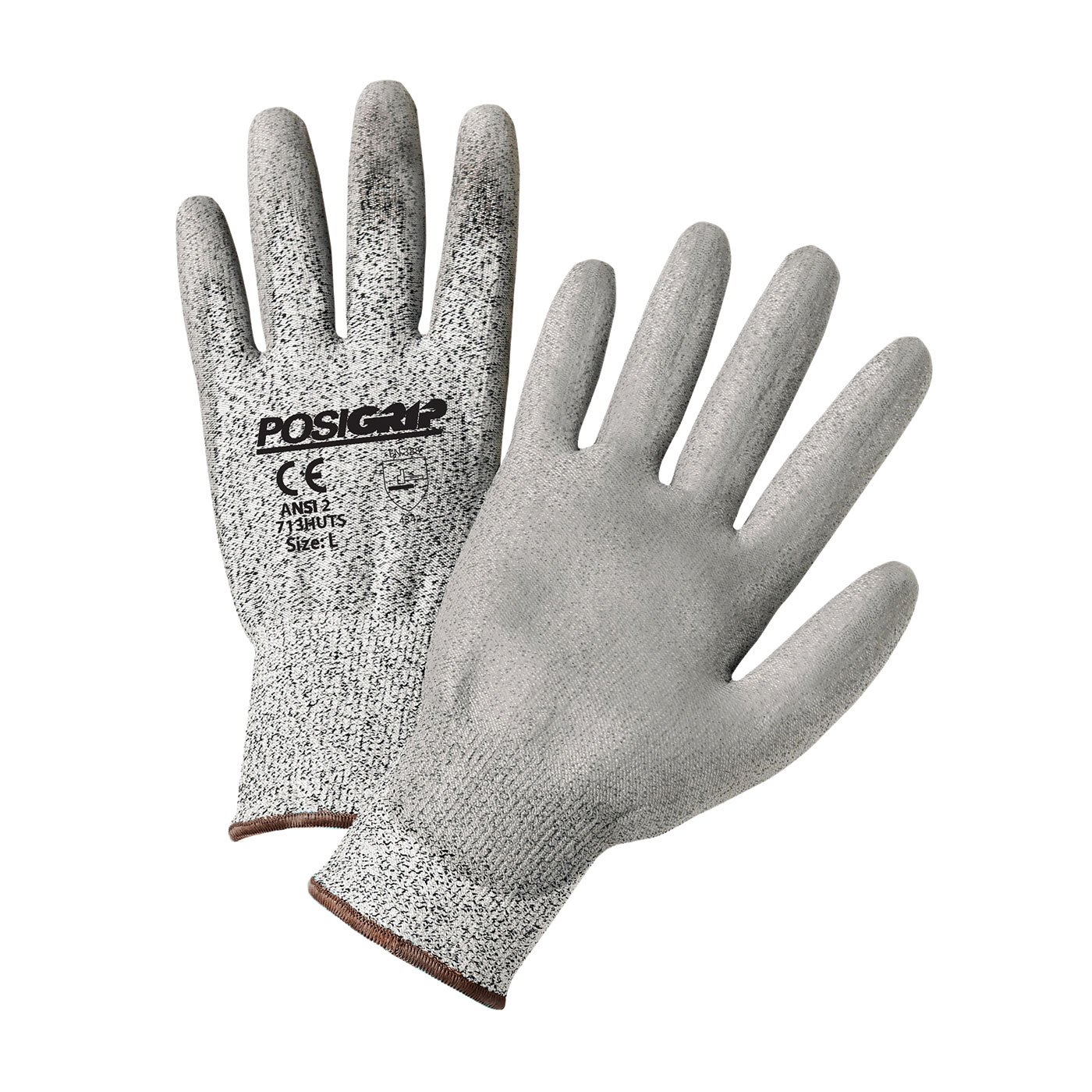 Seamless Knit PolyKor® Blended Glove with Polyurethane Coated Smooth Grip on Palm & Fingers - Touchscreen Compatible, Salt & Pepper, 2XL