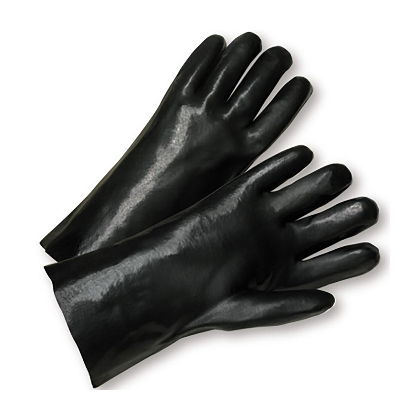 """PVC Dipped Glove with Interlock Liner and Smooth Finish - 10"""", Black, L"""