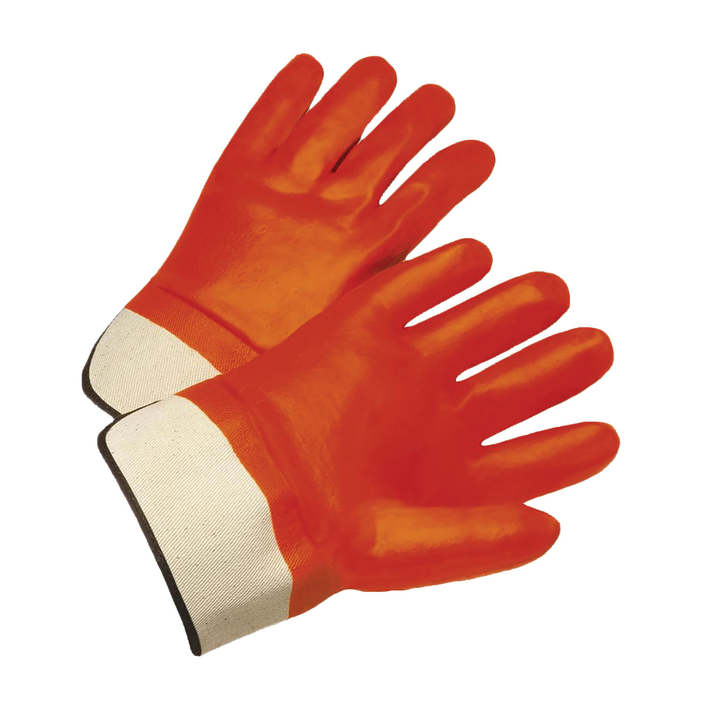 PVC Dipped Glove with Jersey Liner and Smooth Finish - Rubberized Safety Cuff, Hi-Vis Orange, L