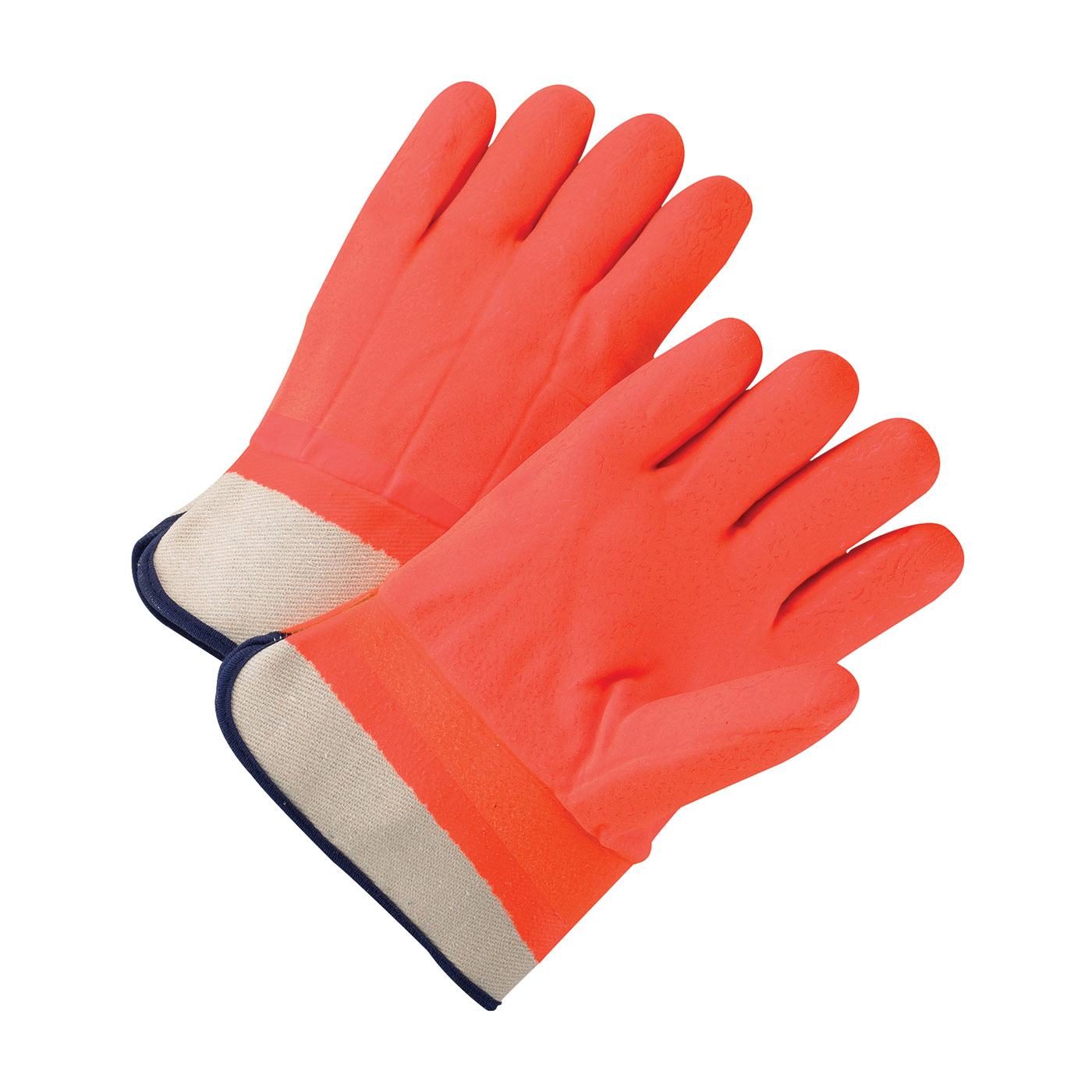 PVC Dipped Glove with Foam over Jersey Lining - Rough Finish, Hi-Vis Orange, L