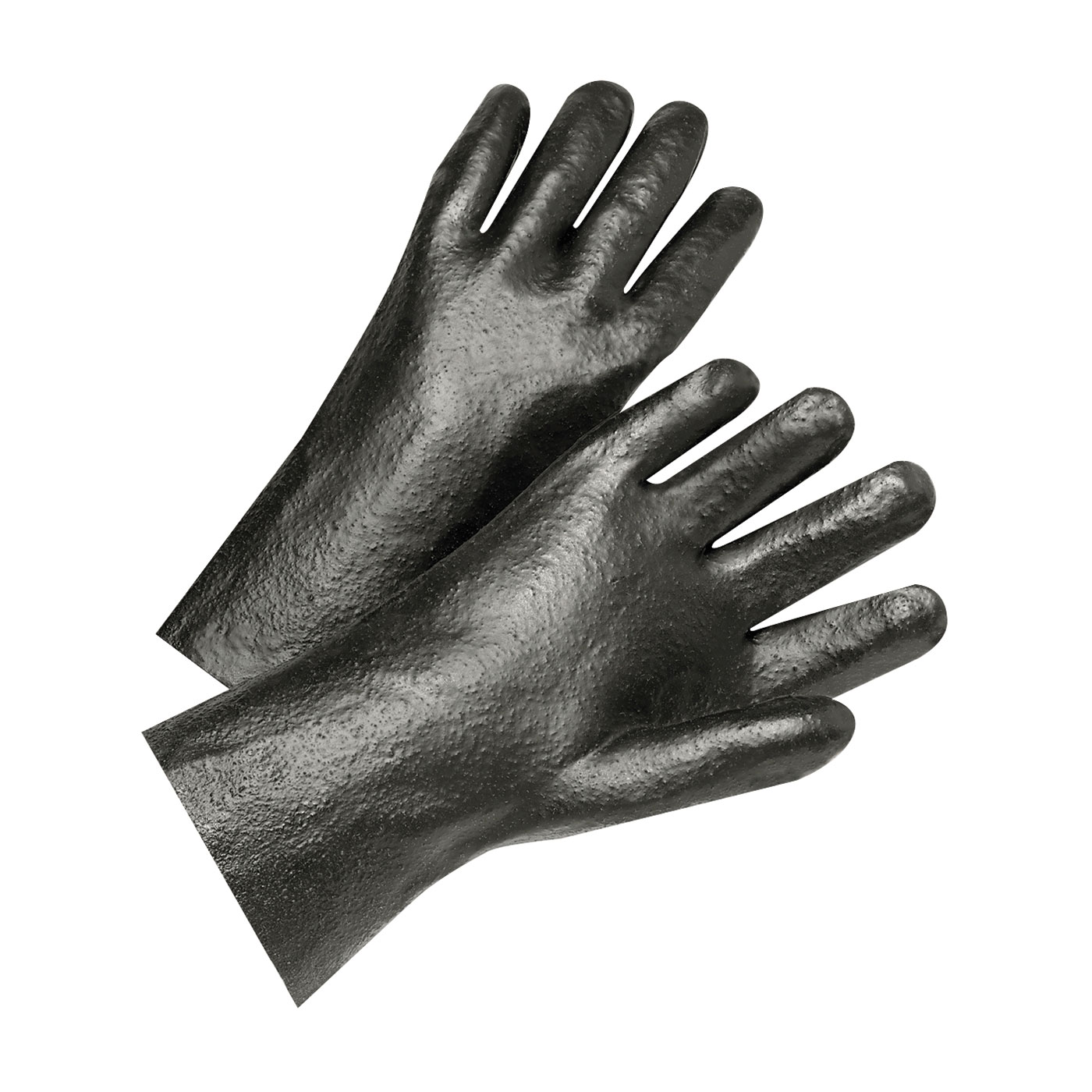"PVC Dipped Glove with Interlock Liner and Semi-Rough Finish - 12"", Black, L"