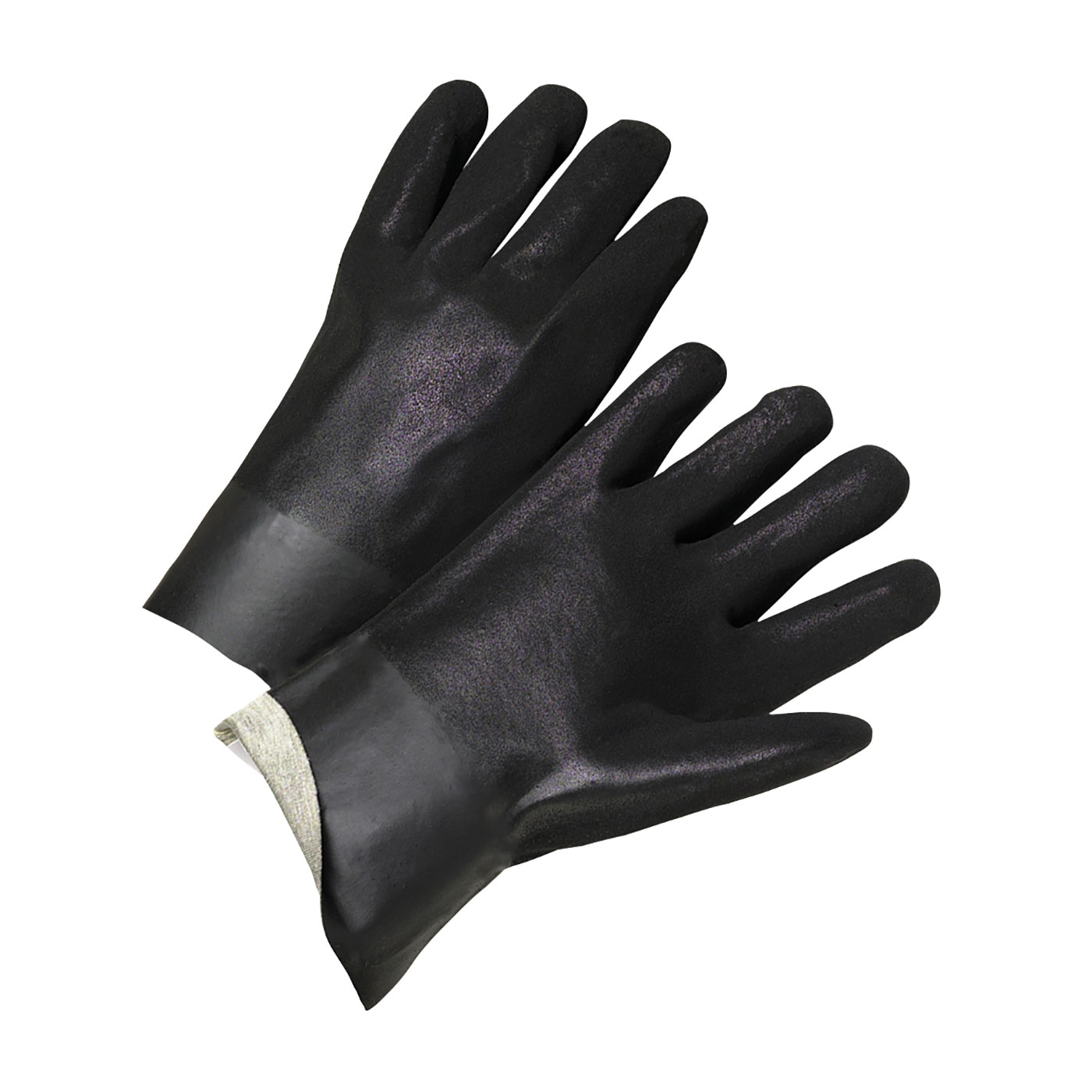 "PVC Dipped Glove with Interlock Liner and Rough Finish - 10"", Black, L"