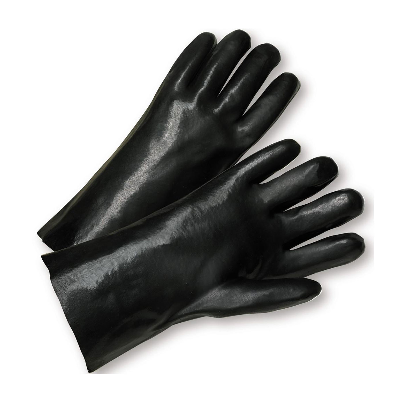 """PVC Dipped Glove with Interlock Liner and Smooth Finish - 12"""", Black, L"""