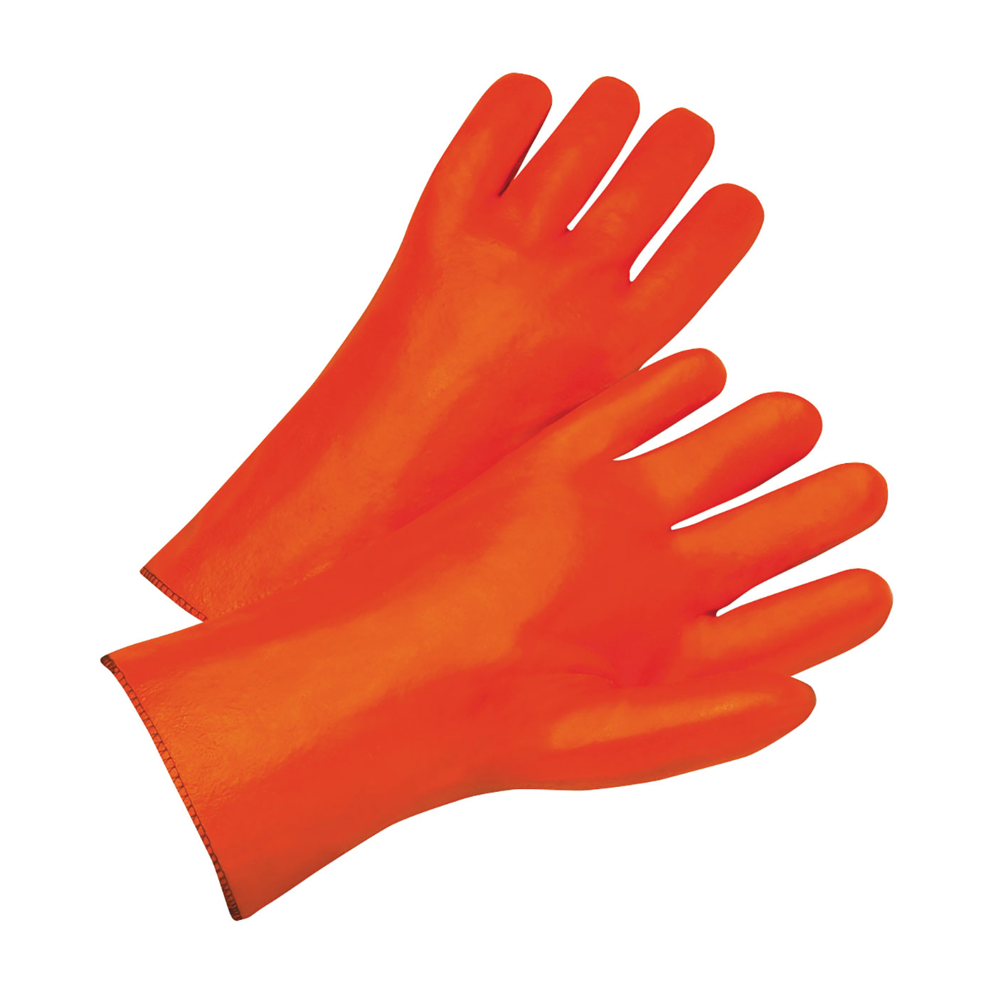 "PVC Dipped Glove with Foam Liner and Smooth Finish - 12"", Orange, L"