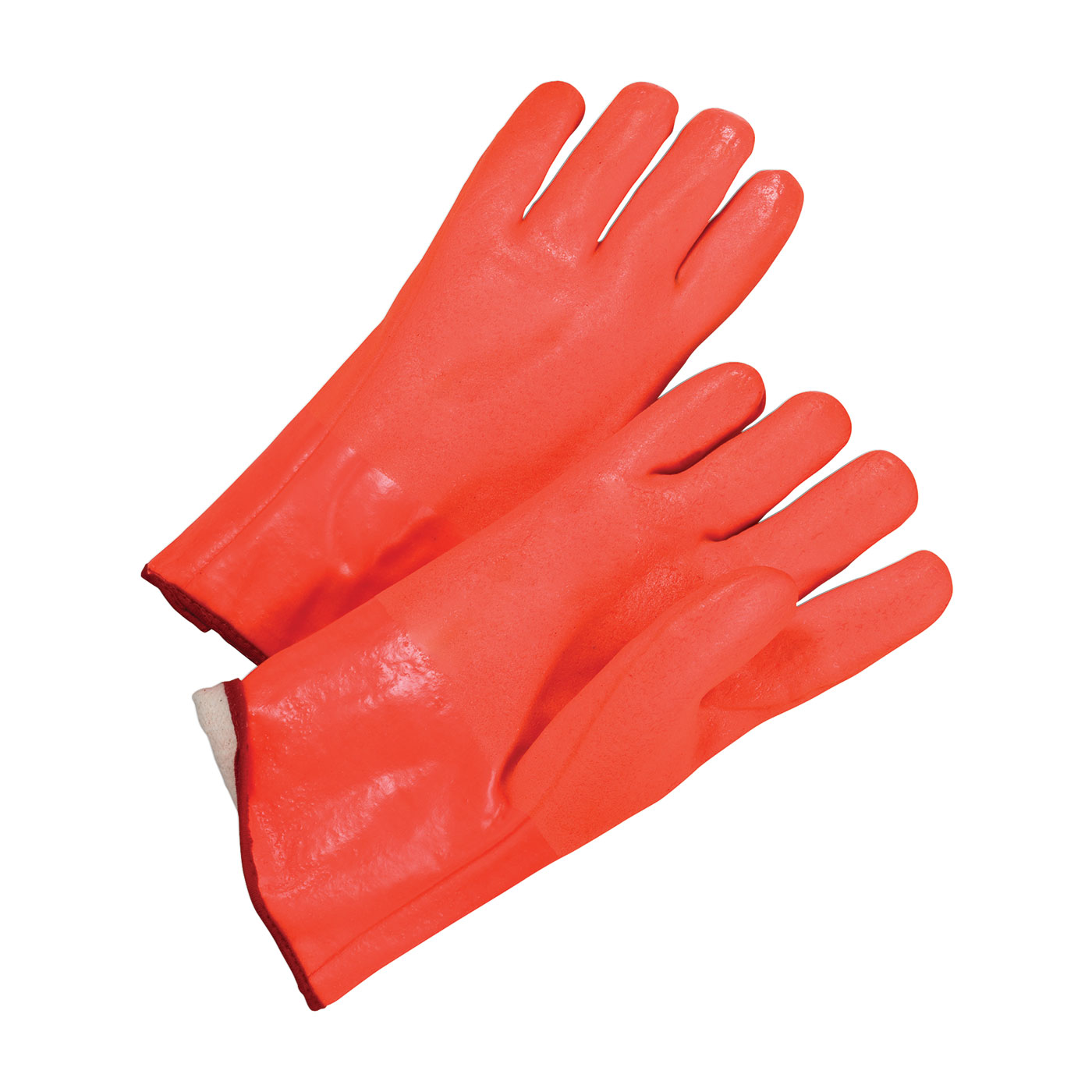 "PVC Dipped Glove with Foam Liner and Rough Finish - 12"", Orange, L"