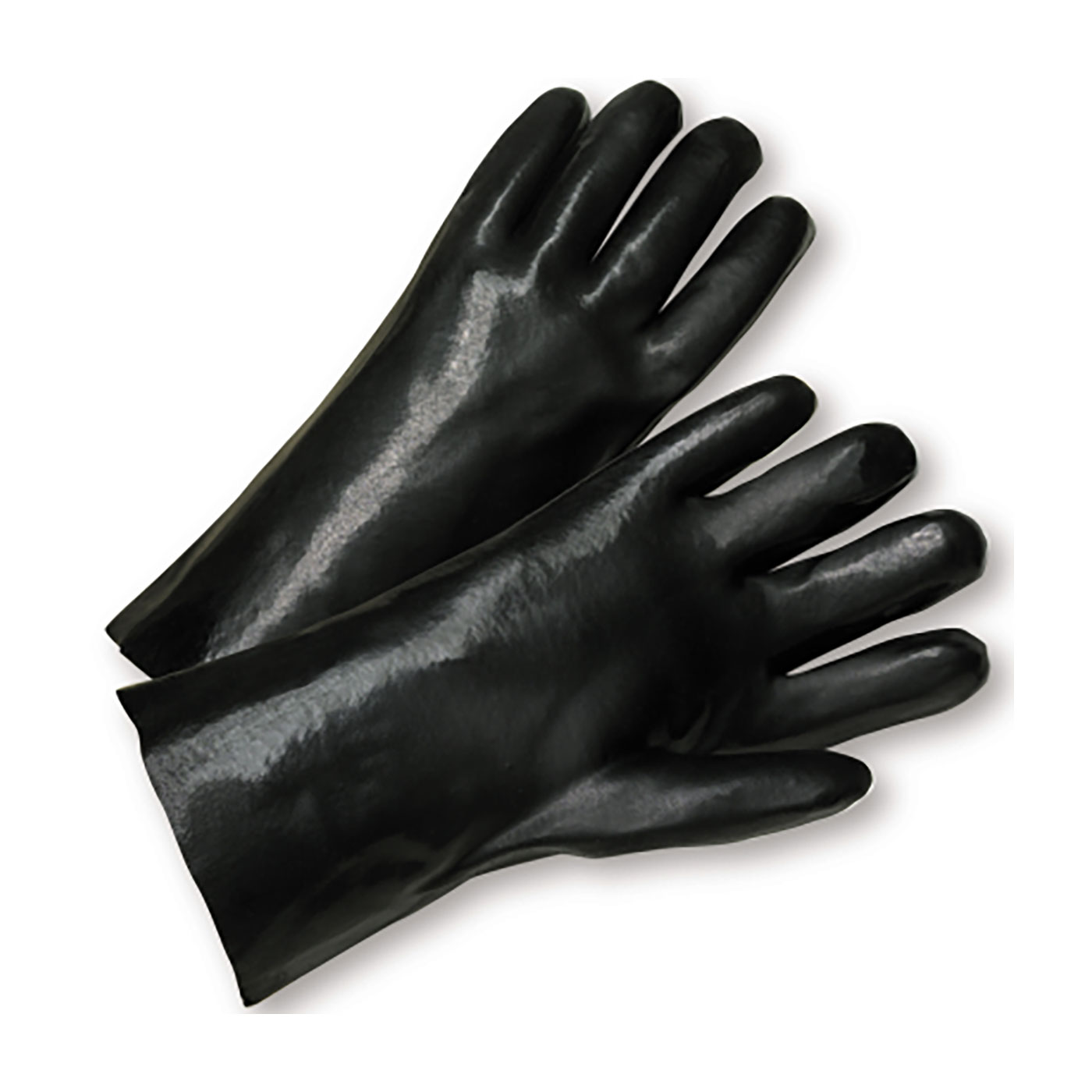 "PVC Dipped Glove with Interlock Liner and Smooth Finish - 14"", Black, L"
