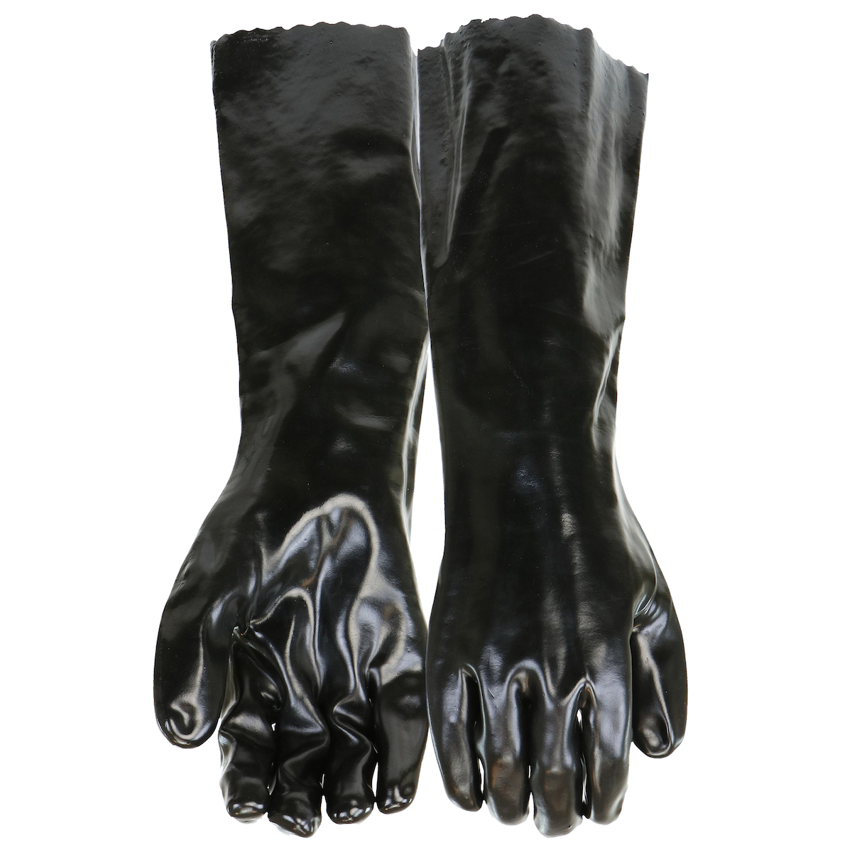 """PVC Dipped Glove with Interlock Liner and Smooth Finish - 18"""", Black, L"""
