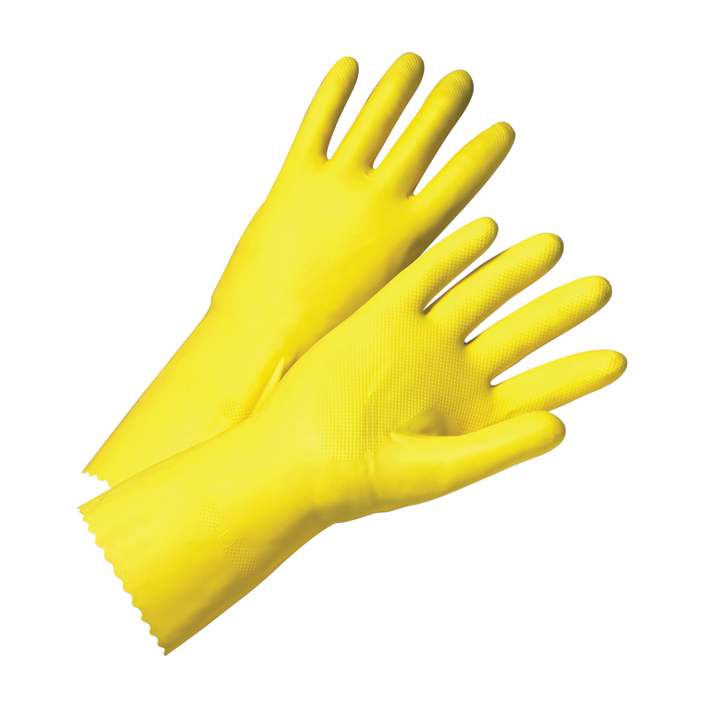 Unsupported Latex, Flock Lined with Raised Diamond Grip - 18 Mil, Yellow, 10