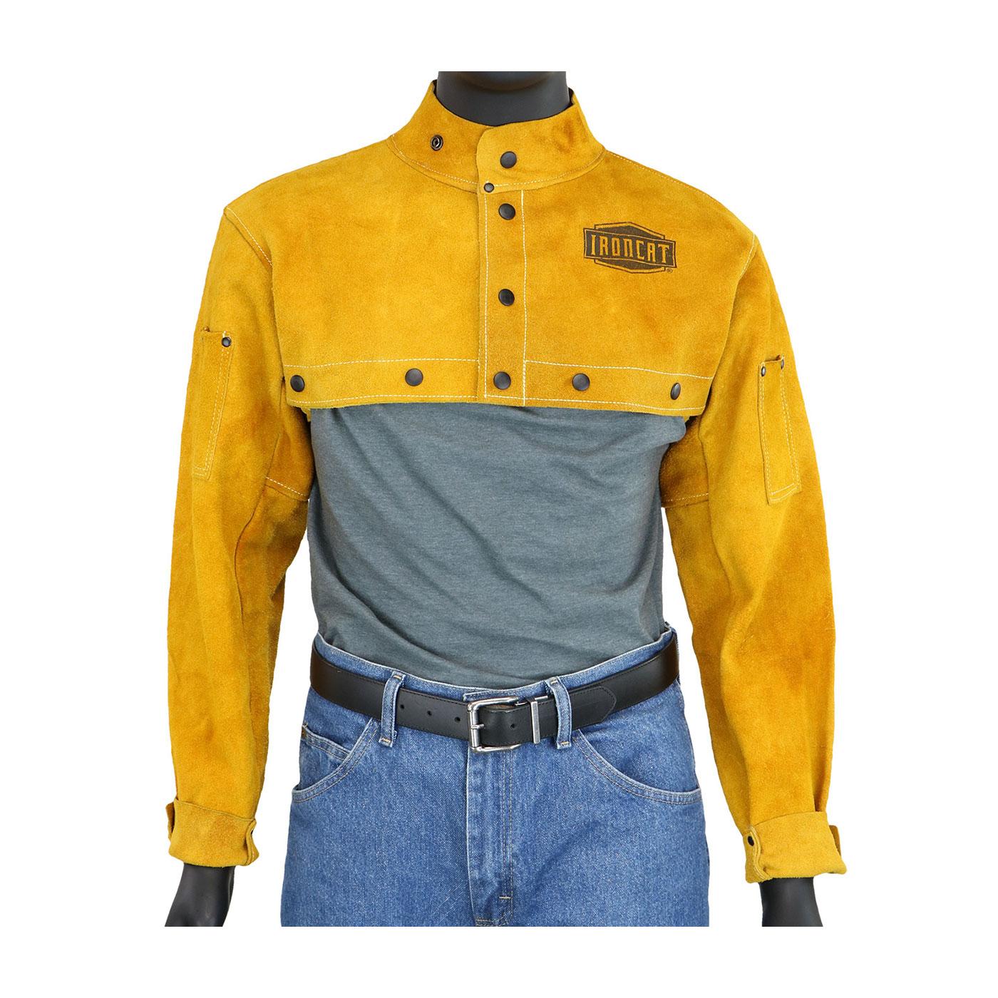 Ironcat® Split Leather Welding Cape Sleeve, Gold, 2XL