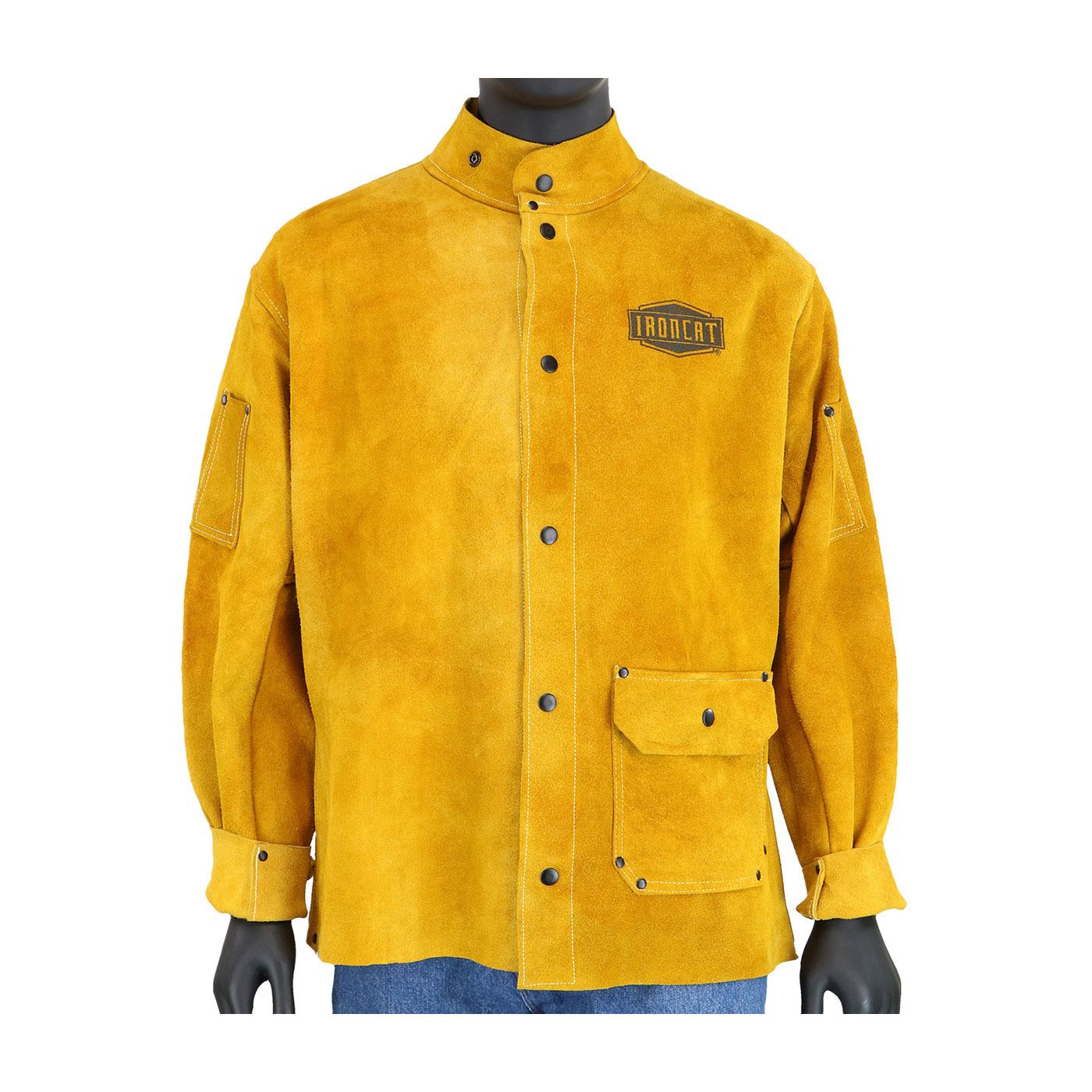 Ironcat® Split Leather Welding Jacket, Gold, 2XL