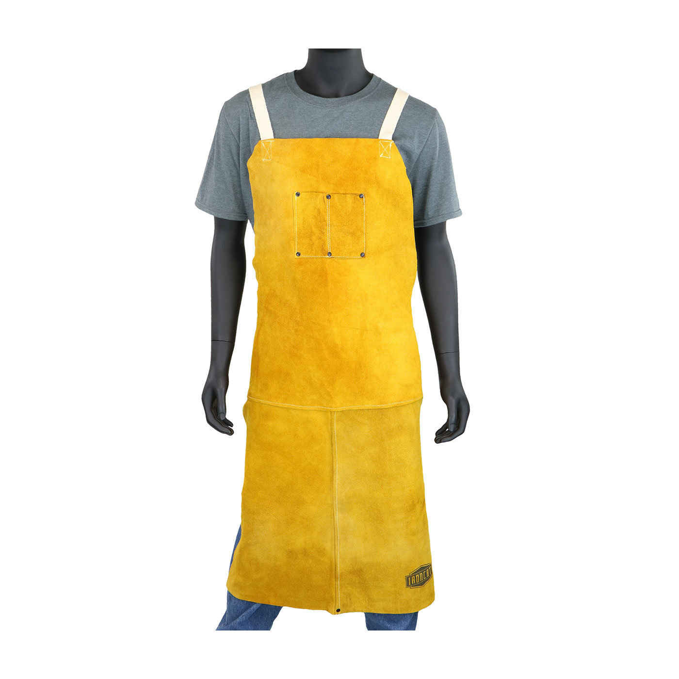 "Ironcat® Split Leather Welding Apron, Gold, 36"""