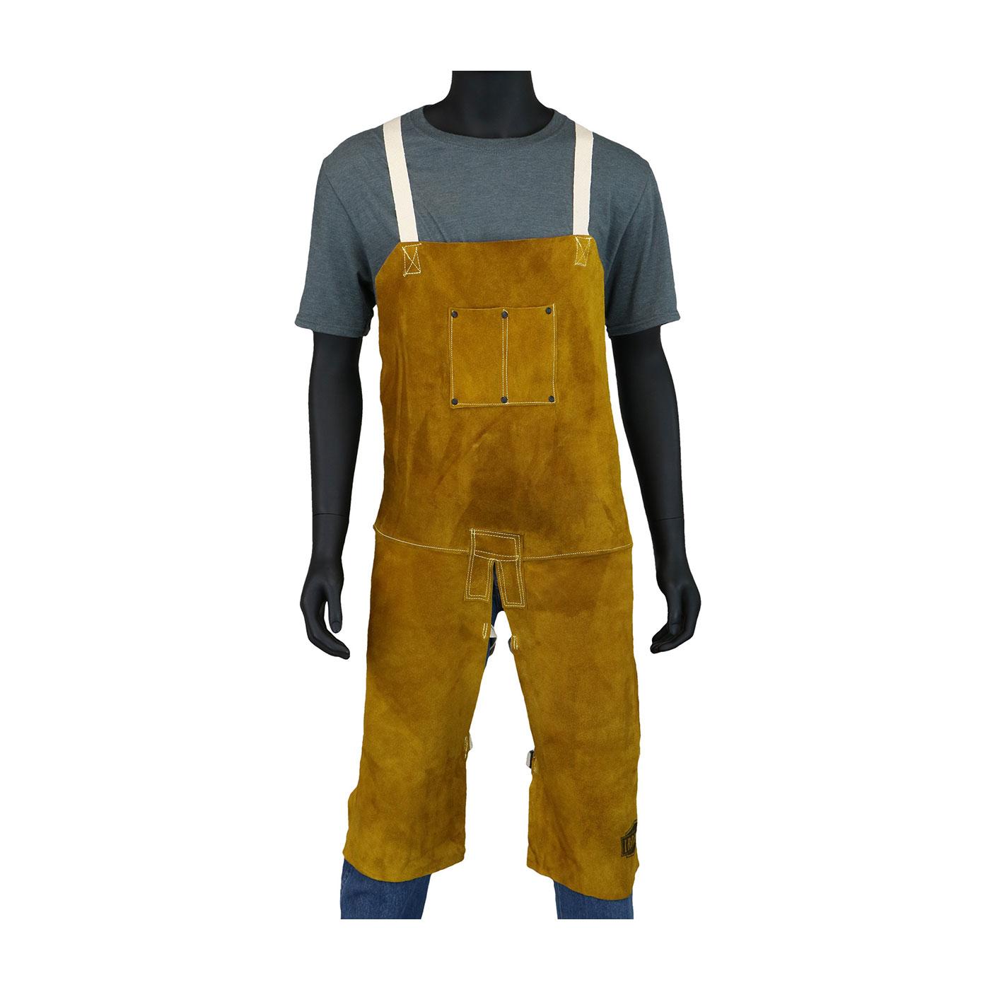 "Ironcat® Leather Split Leg Welding Apron, Gold, 36"""