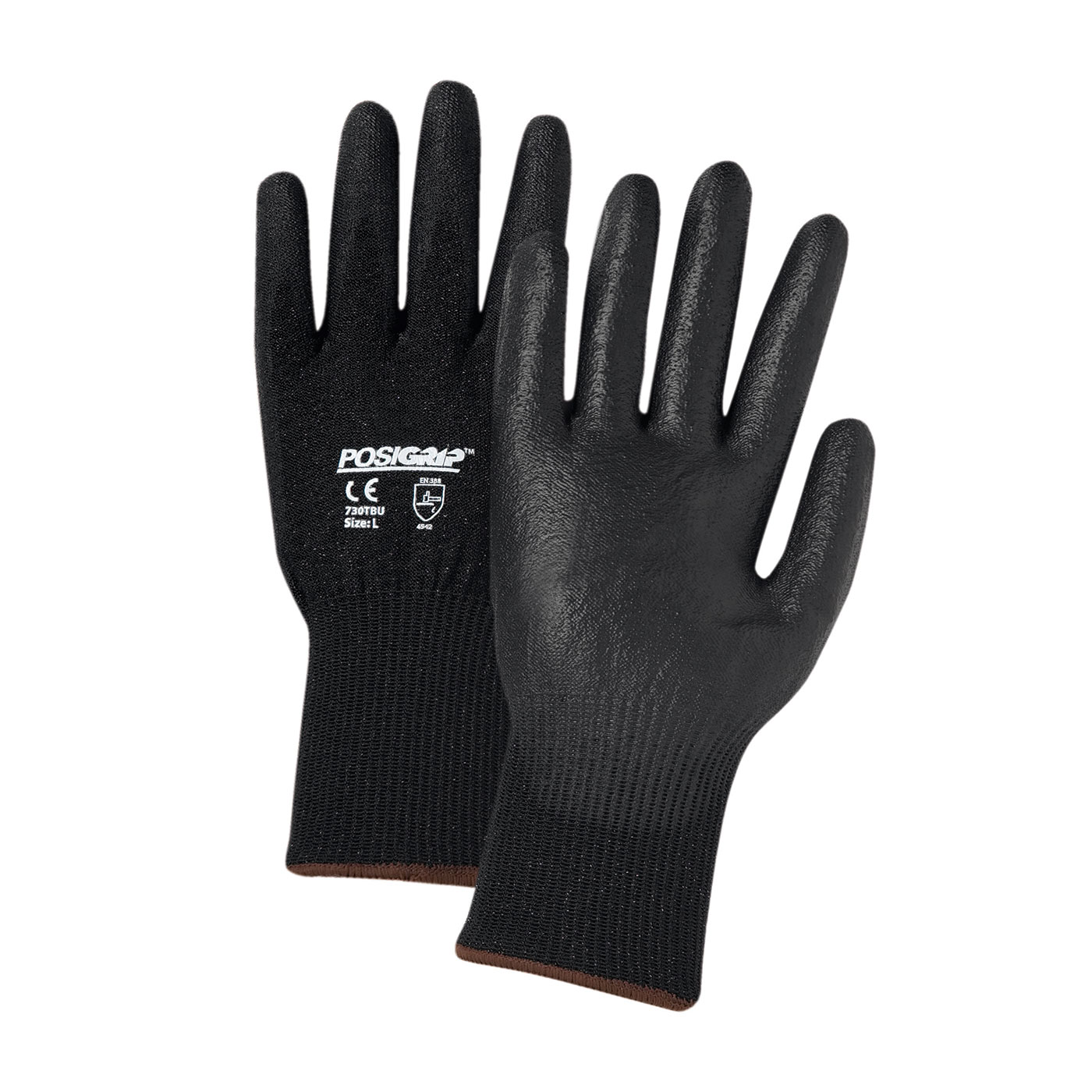 Seamless Knit HPPE Blended Glove with Polyurethane Coated Smooth Grip on Palm & Fingers, Black, L